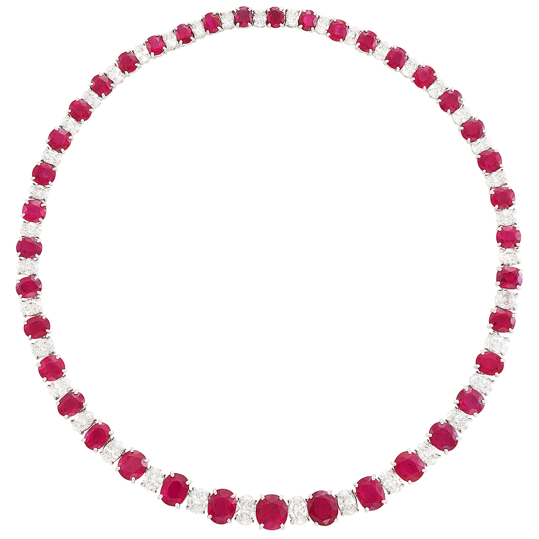 Lot image - Platinum, Ruby and Diamond Necklace