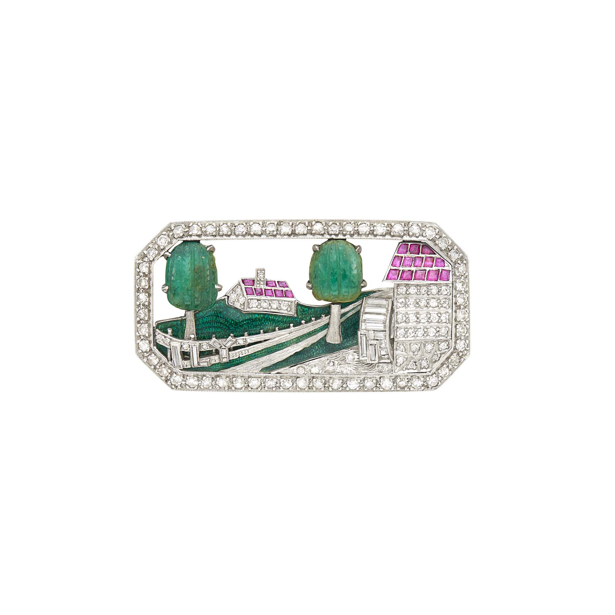 Lot image - Platinum, Frosted Rock Crystal, Carved Emerald, Diamond, Ruby and Enamel Country Home Brooch