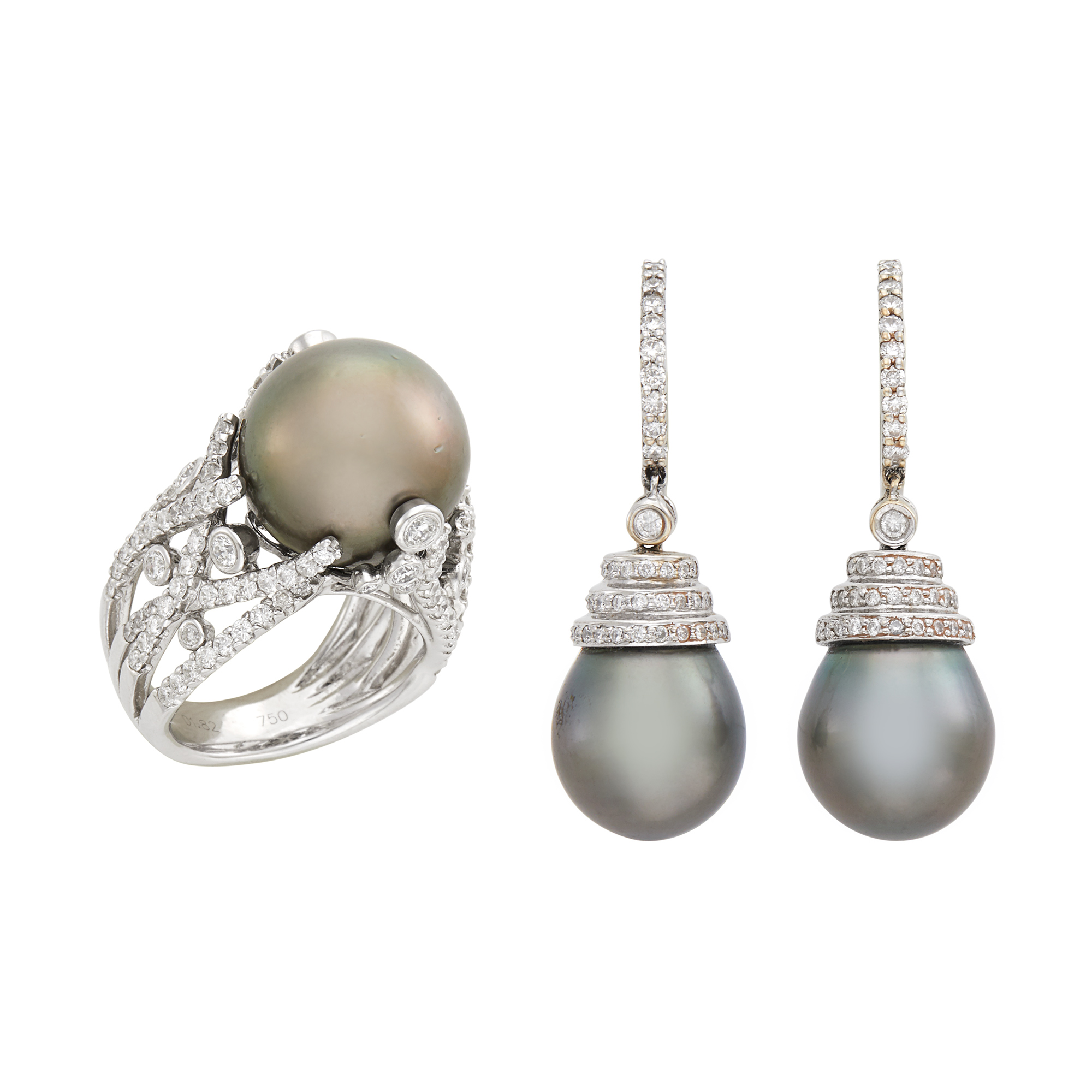 Lot image - Pair of White Gold, Black Cultured Pearl and Diamond Pendant-Earrings