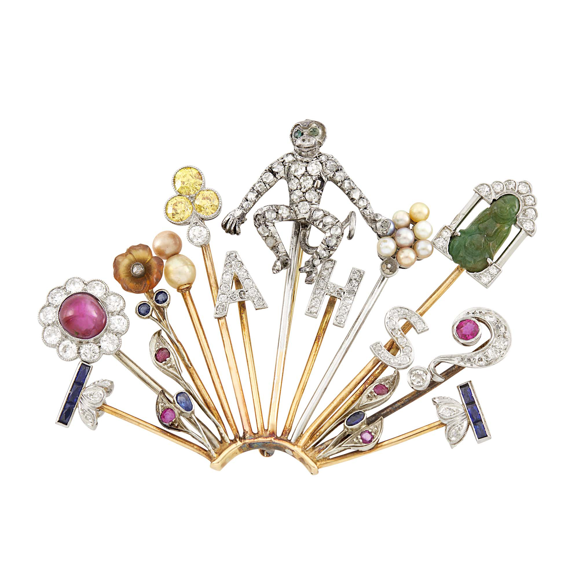 Lot image - Gold, Platinum, Silver, Diamond and Colored Stone Stick Pin Brooch