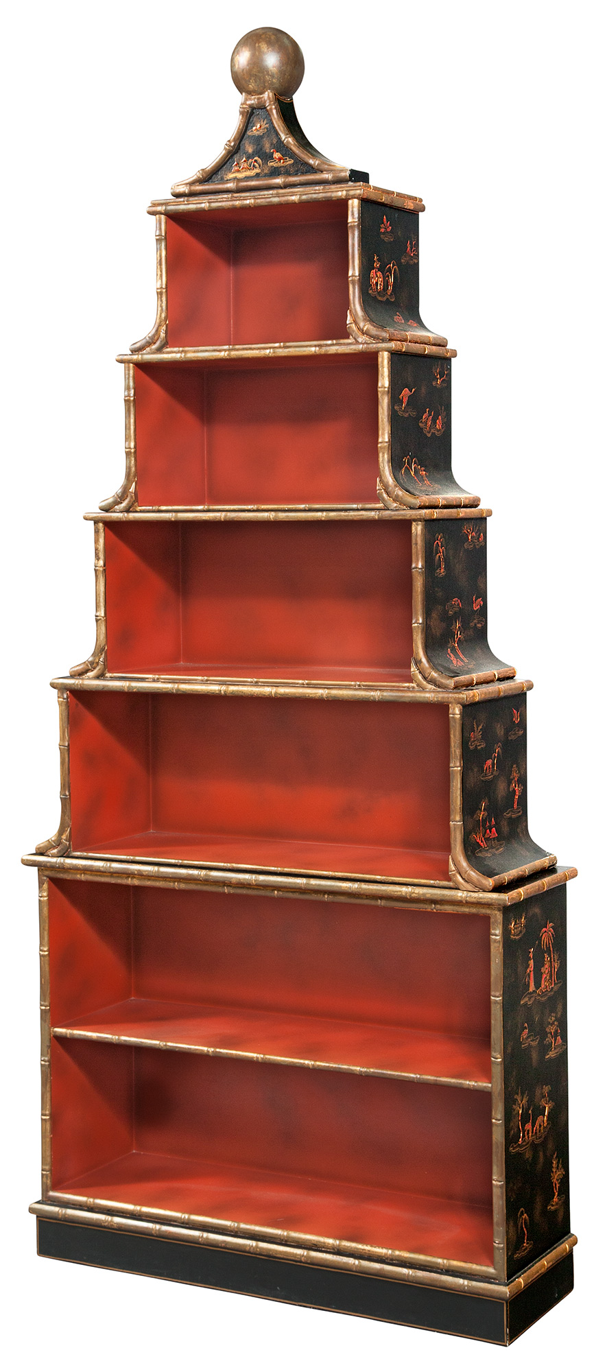 Lot image - Regency Style Japanned and Parcel-Gilt Bookcase
