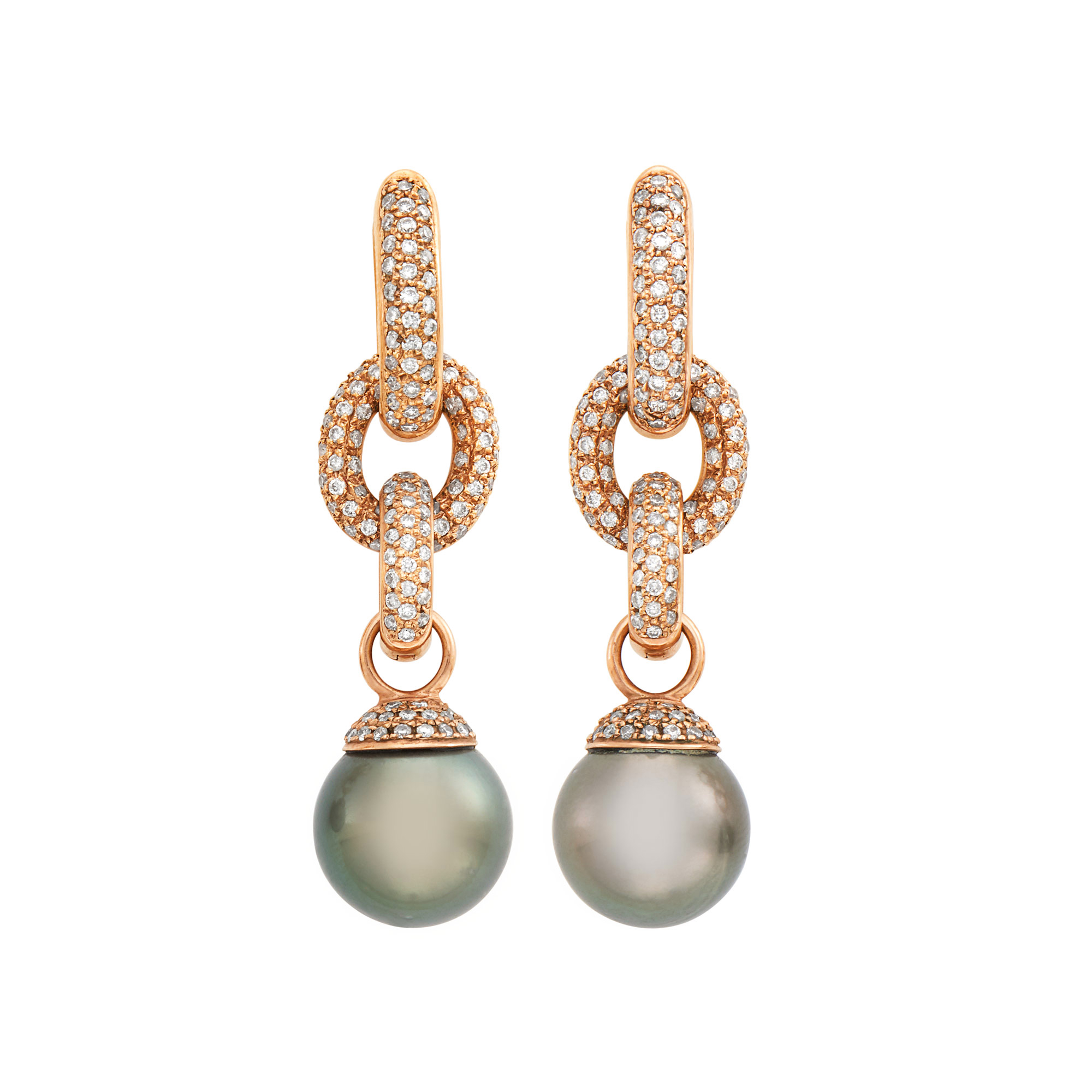 Lot image - Pair of Rose Gold, Black Cultured Pearl and Diamond Pendant-Earrings