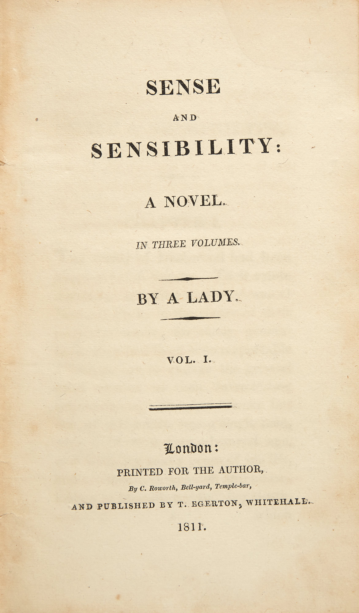 Lot image - AUSTEN, JANE  Sense and Sensibility: A Novel. In Three Volumes. By a Lady.