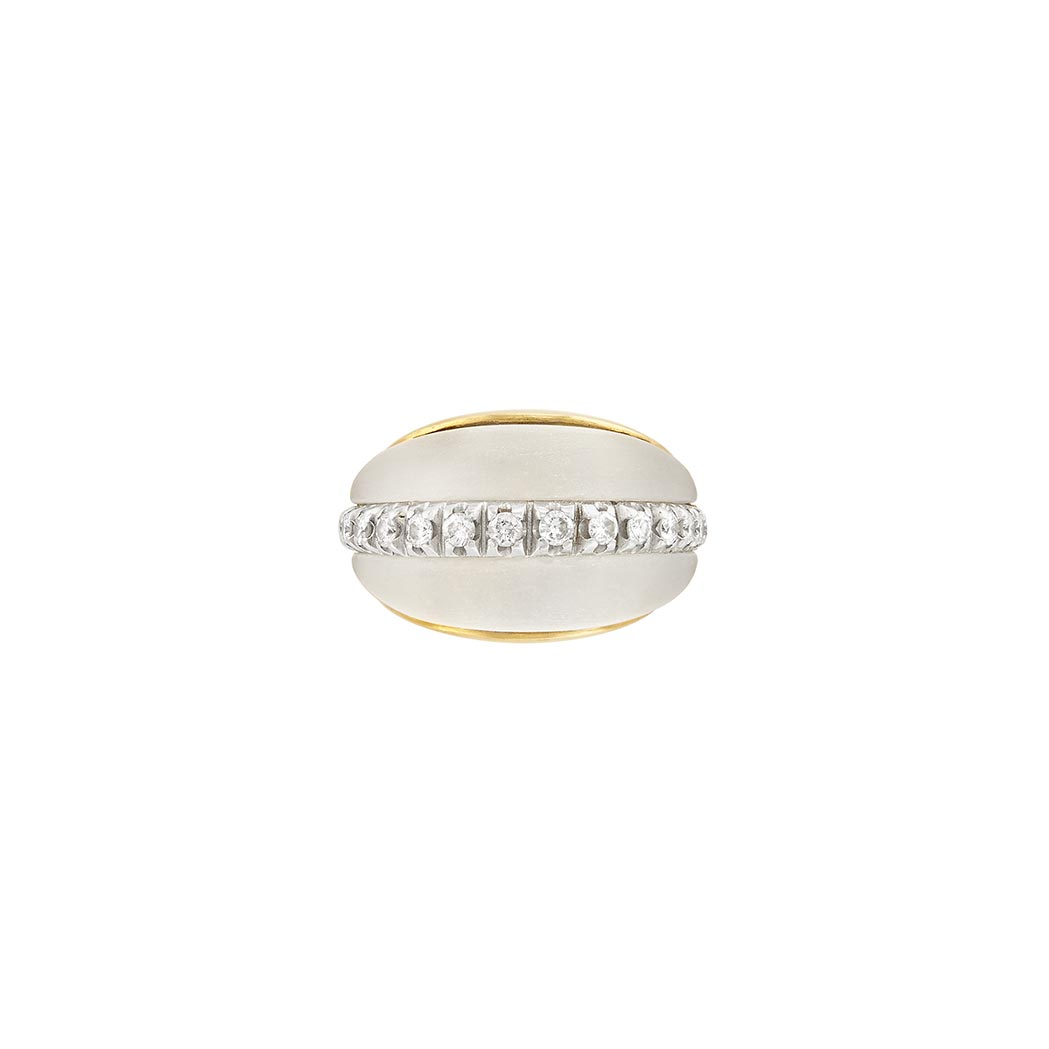 Lot image - Two-Color Gold, Frosted Rock Crystal and Diamond Dome Ring, Van Cleef & Arpels, France