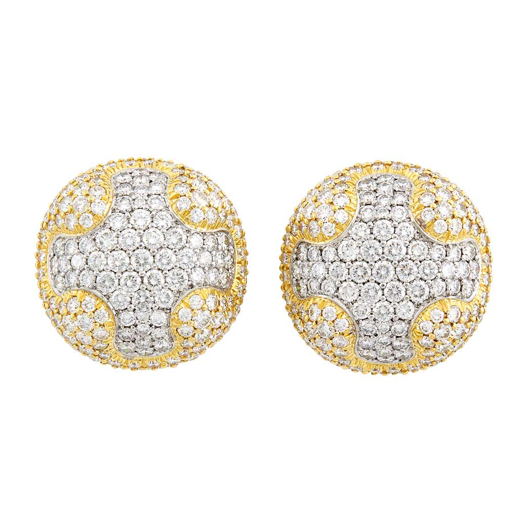 Lot image - Pair of Gold, Platinum and Diamond Bombe Earclips