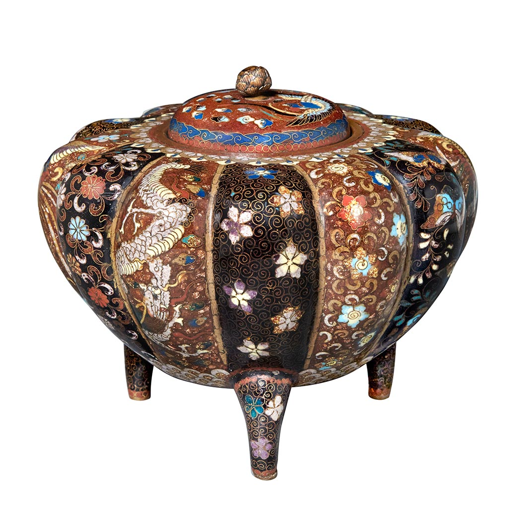 Lot image - Japanese Cloisonné Enamel Covered Vase