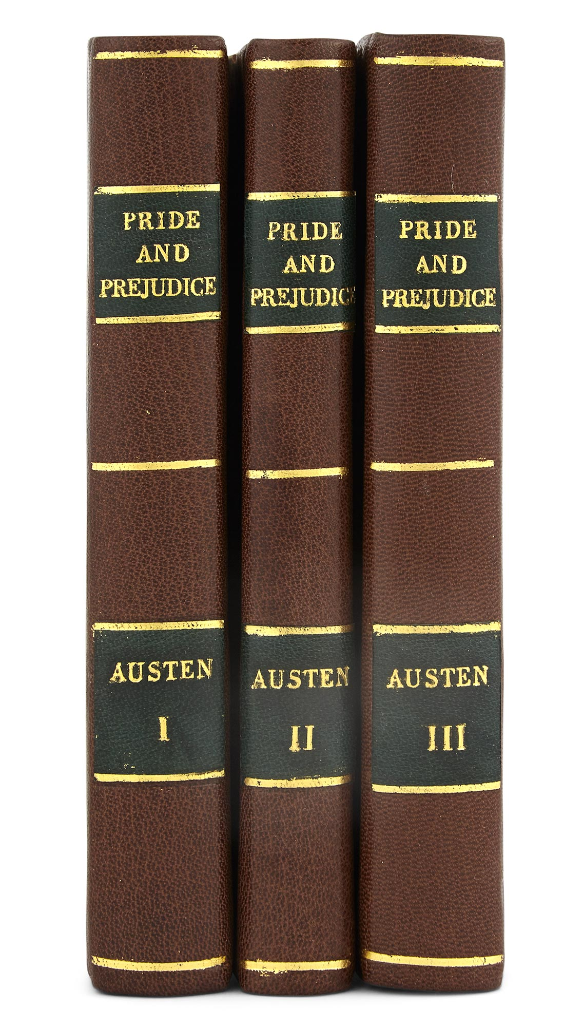 Lot image - AUSTEN, JANE  Pride and Prejudice: a Novel in three volumes By the Author of Sense and Sensibility