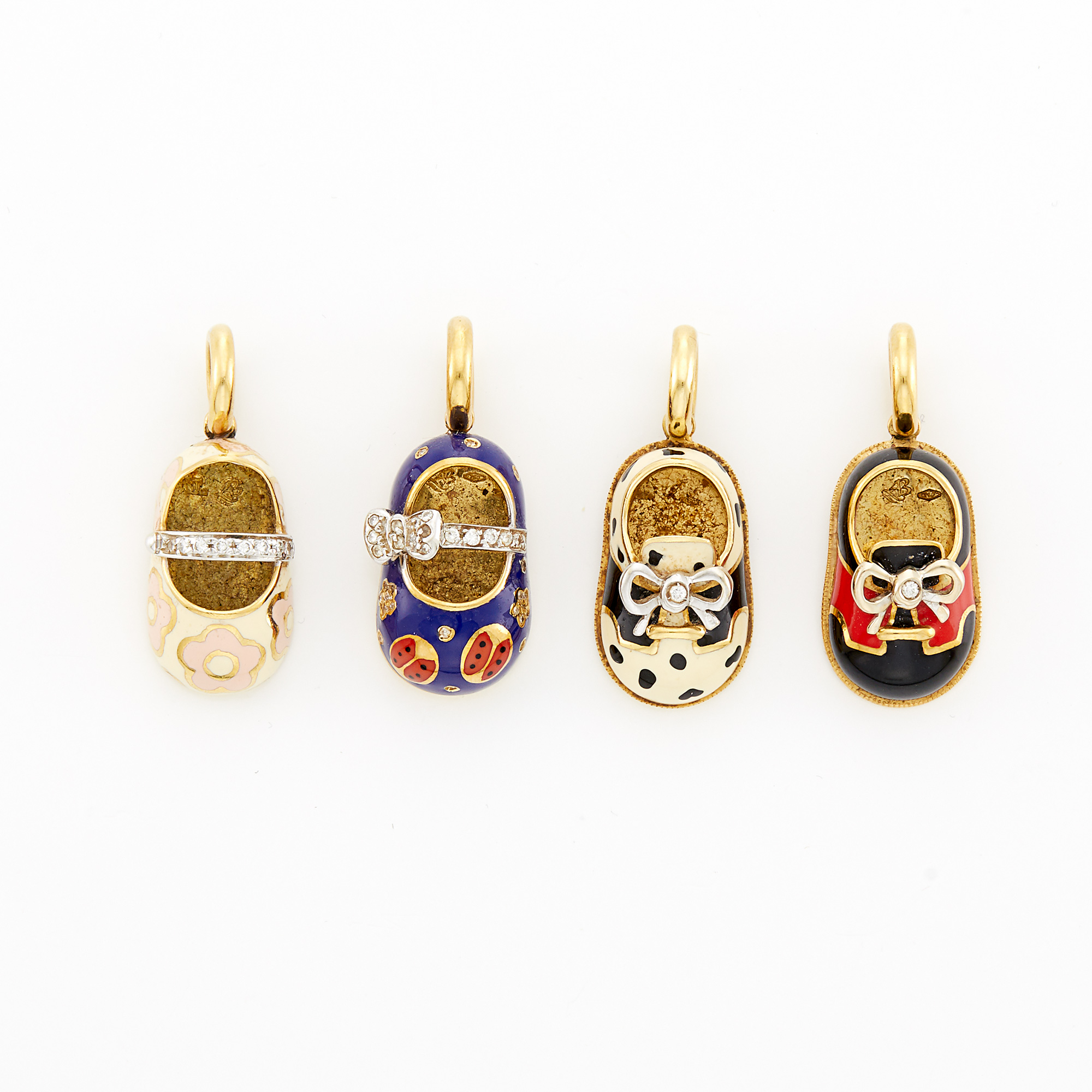 Lot image - Four Gold, Enamel and Diamond Shoe Charms, Aaron Basha