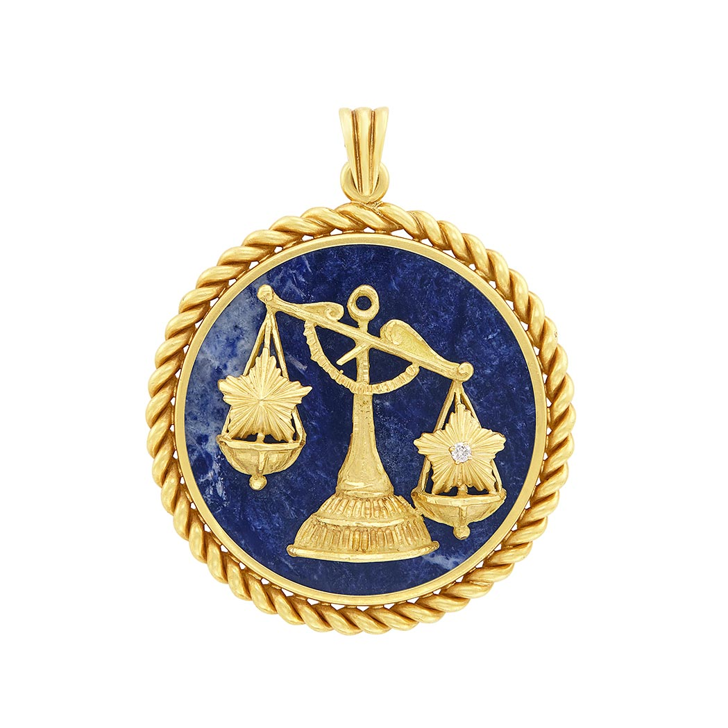 Lot image - Gold, Sodalite and Diamond Libra Pendant, Van Cleef & Arpels