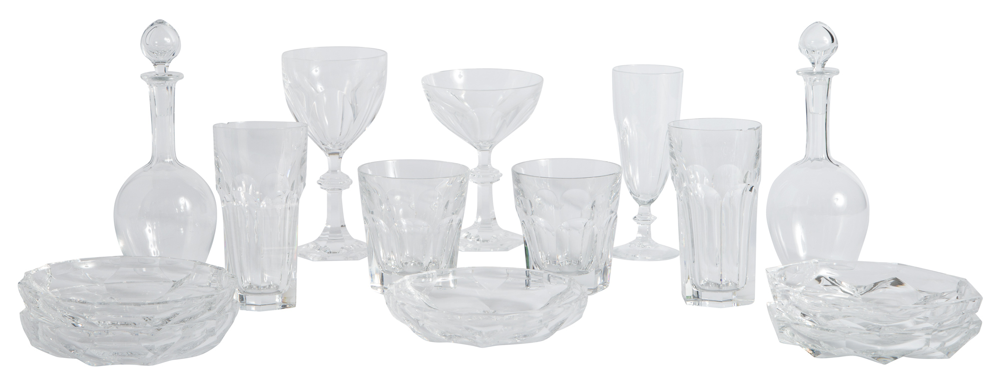 Lot image - Group of Baccarat Glass Stemware and Table Articles; Together with a Miscellaneous Group of Cut Glass Tableware