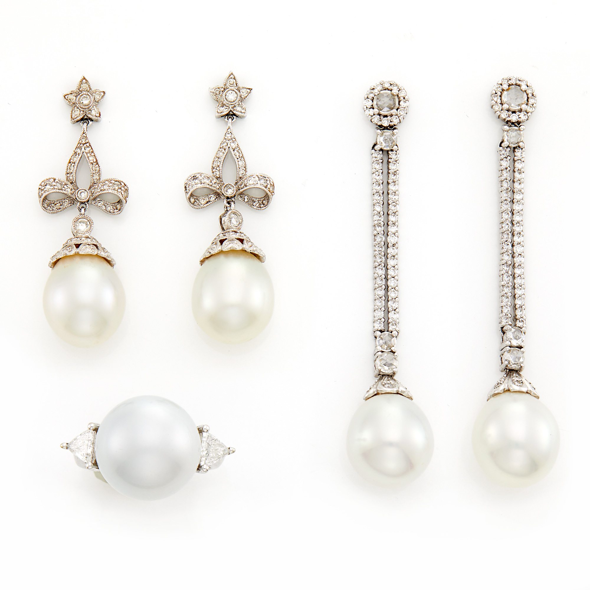 Lot image - Two Pairs of White Gold, Platinum, Diamond, South Sea and Cultured Pearl Pendant-Earrings and Ring