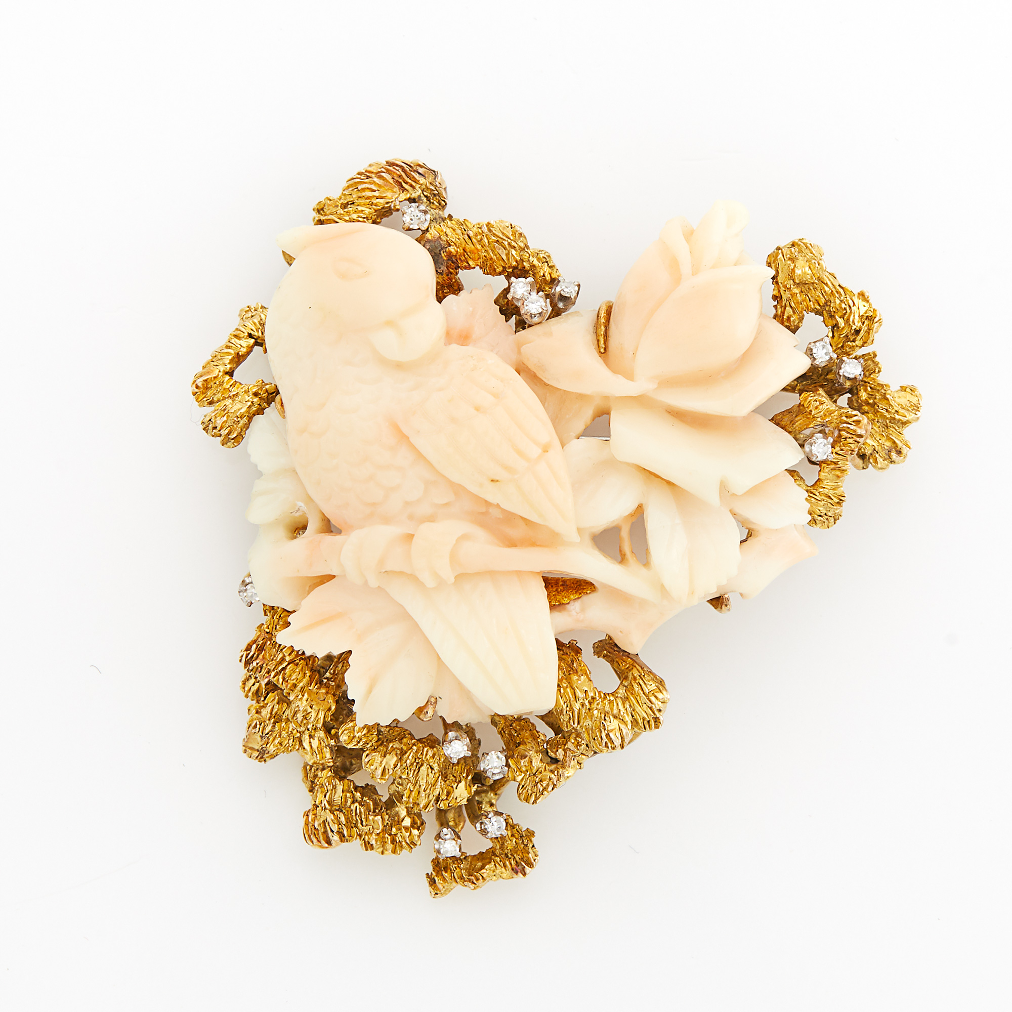 Lot image - Gold, Angel Skin Coral and Diamond Brooch