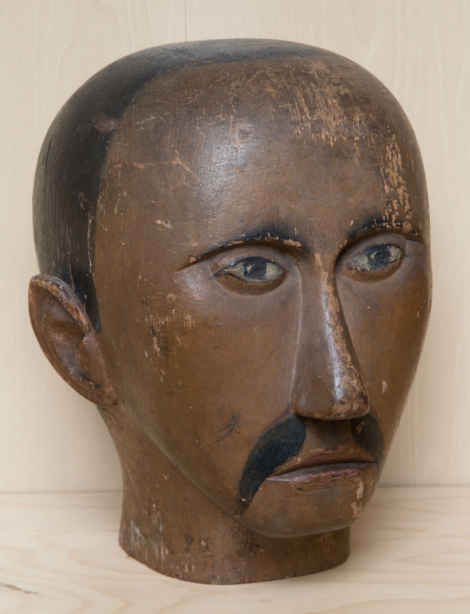Lot image - Carved and Painted Head of a Man