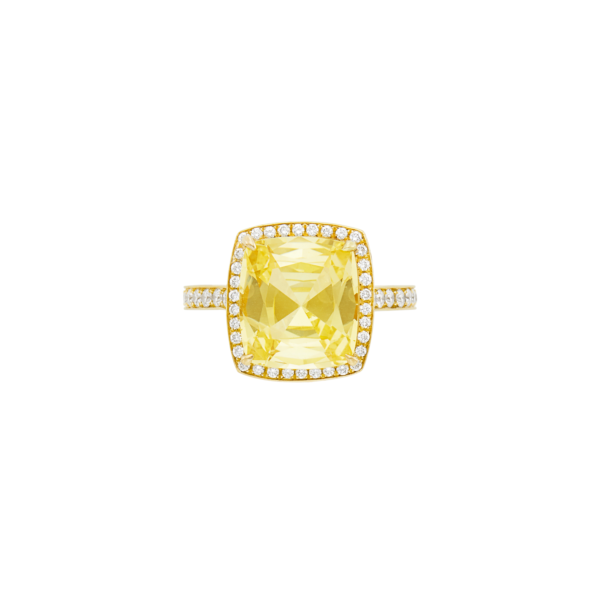 Lot image - Gold, Yellow Sapphire and Diamond Ring