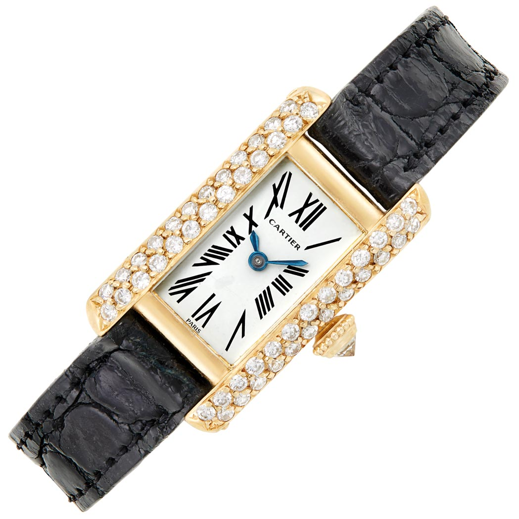 Lot image - Lady's Gold and Diamond 'Tank' Wristwatch, Cartier, Paris
