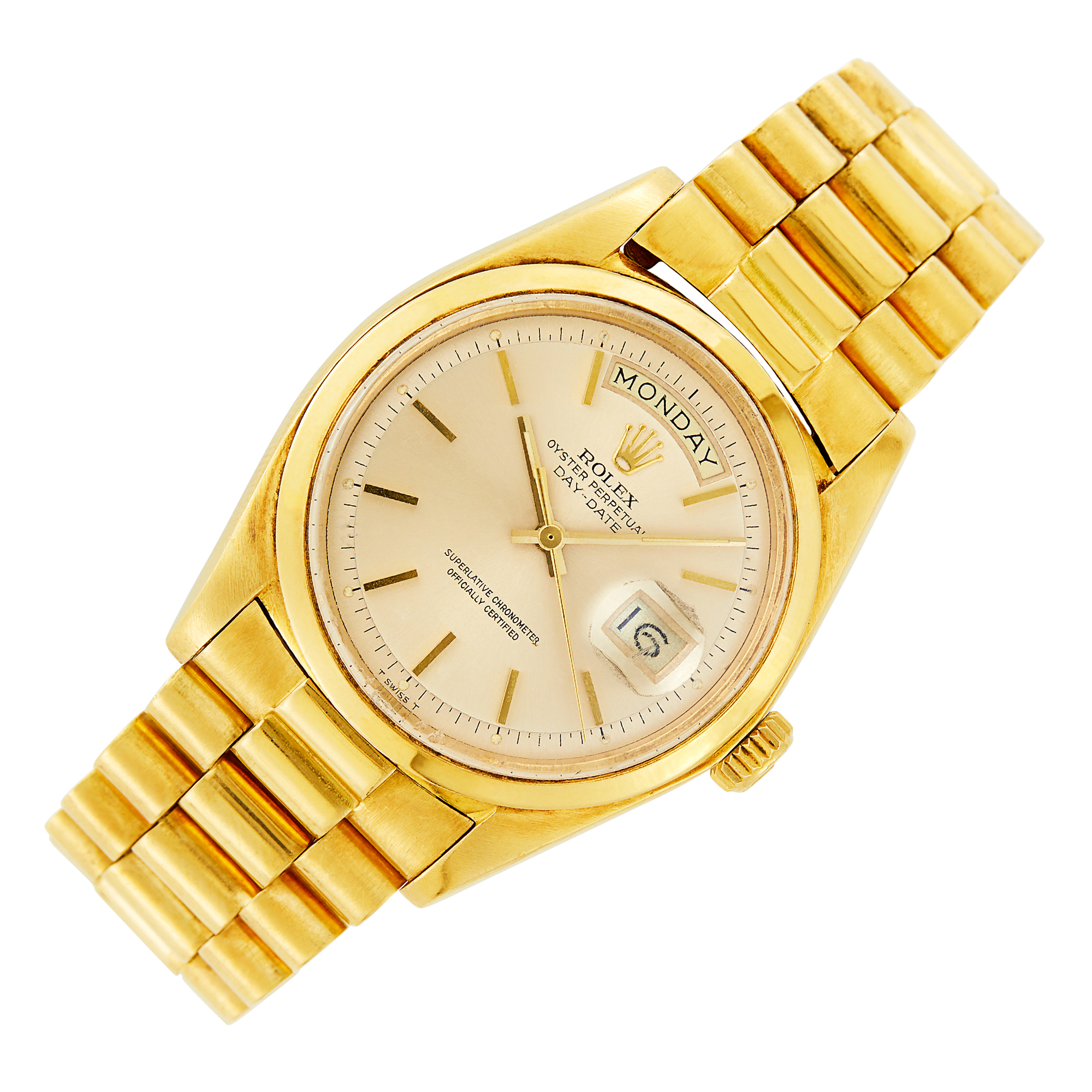 Lot image - Gentlemans Rolex Gold Oyster Perpetual Day-Date Wristwatch, Ref. 1802