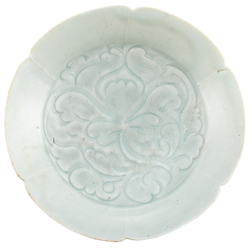Lot image - Chinese Qingbai Carved Lobed Dish