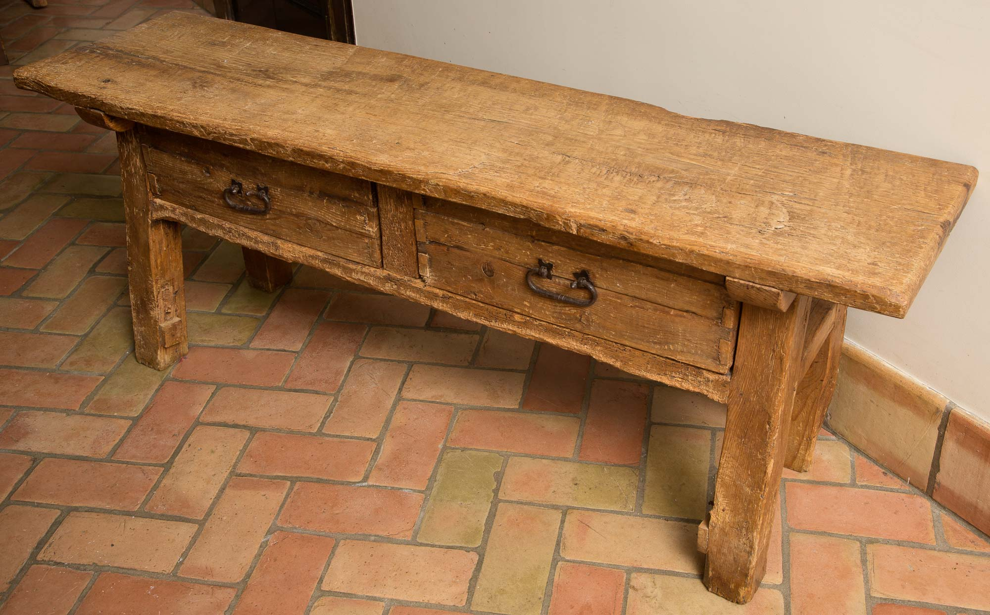 Lot image - Rustic Pine Two-Drawer Bench