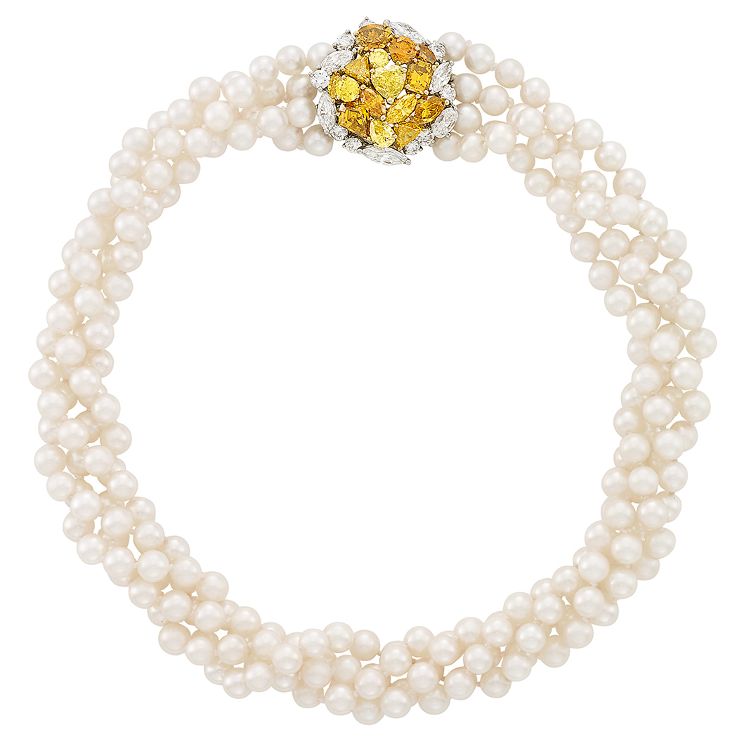 Lot image - Cultured Pearl Torsade Necklace with Two-Color Gold, Colored Diamond and Diamond Clasp
