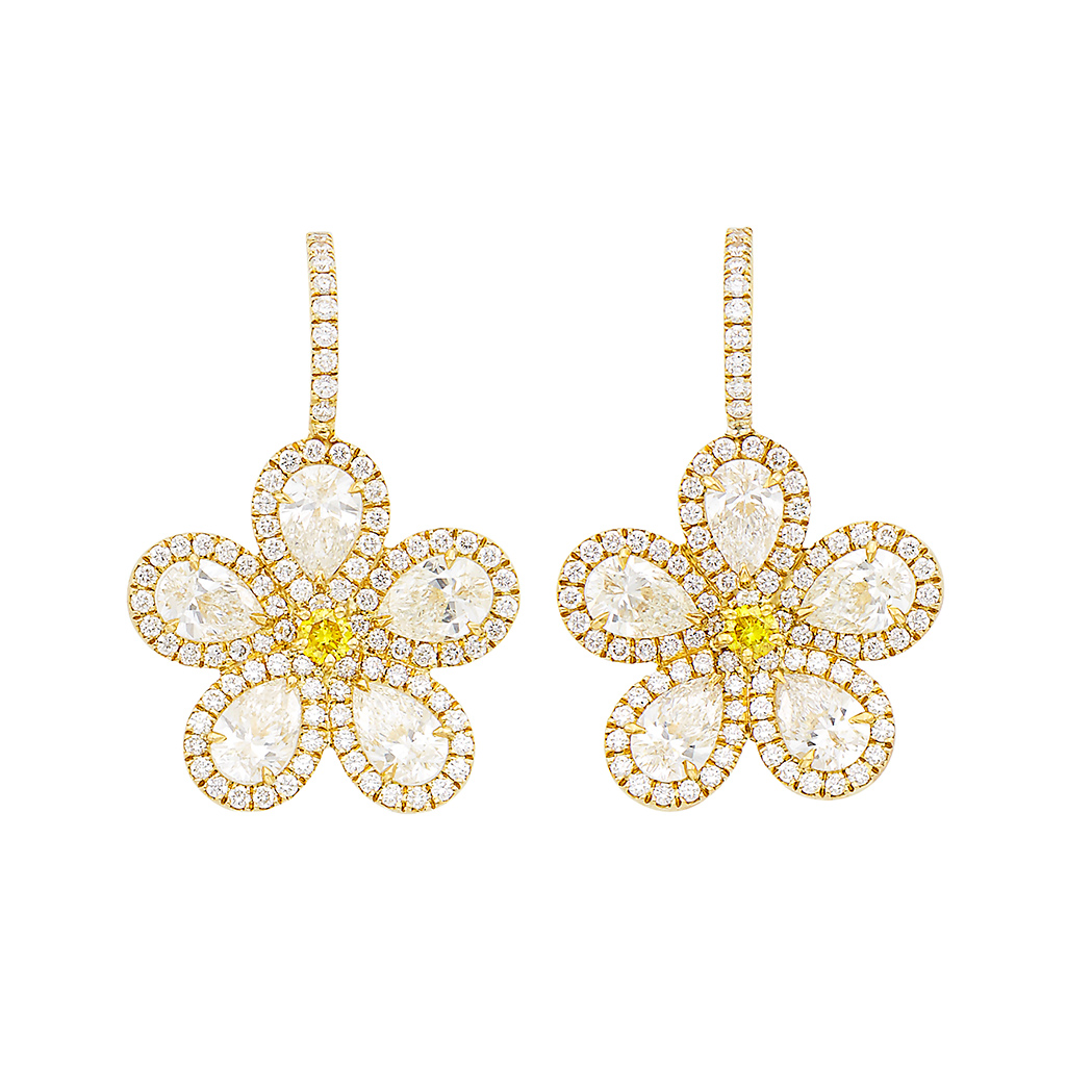 Lot image - Pair of Gold, Diamond and Colored Diamond Flower Pendant-Earrings