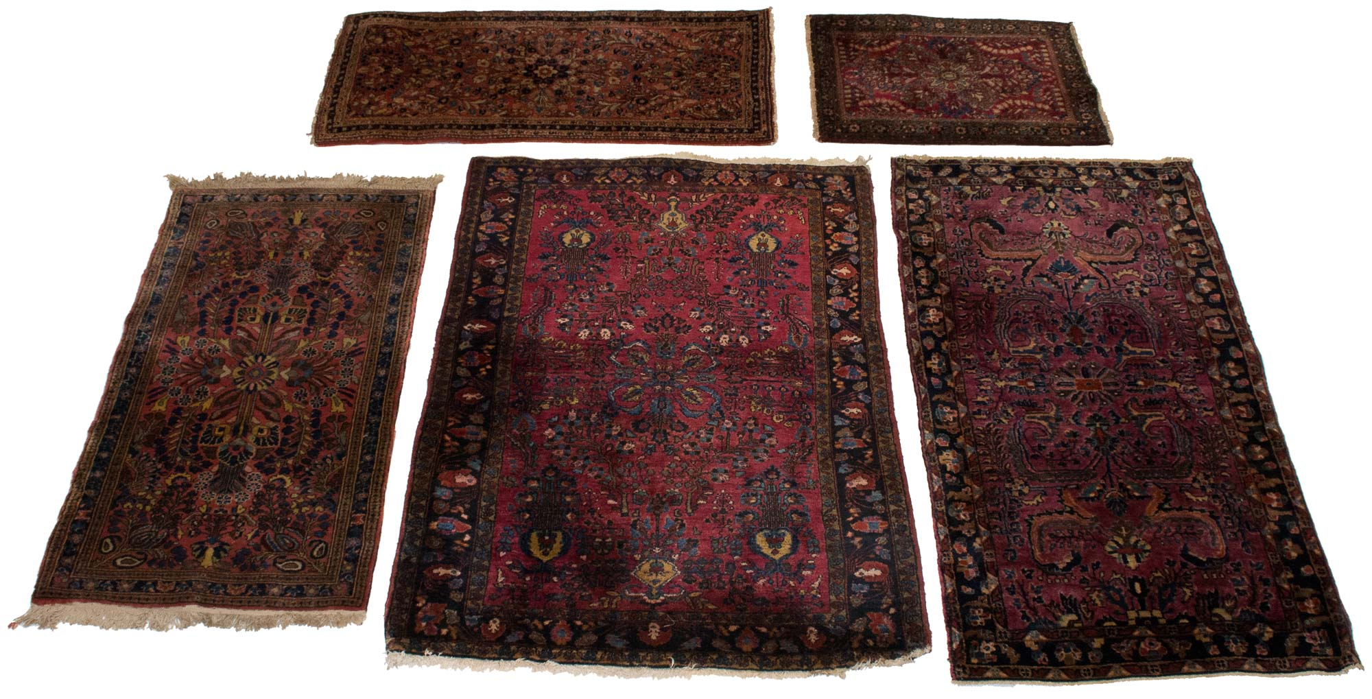 Lot image - Group of Five Sarouk Rugs