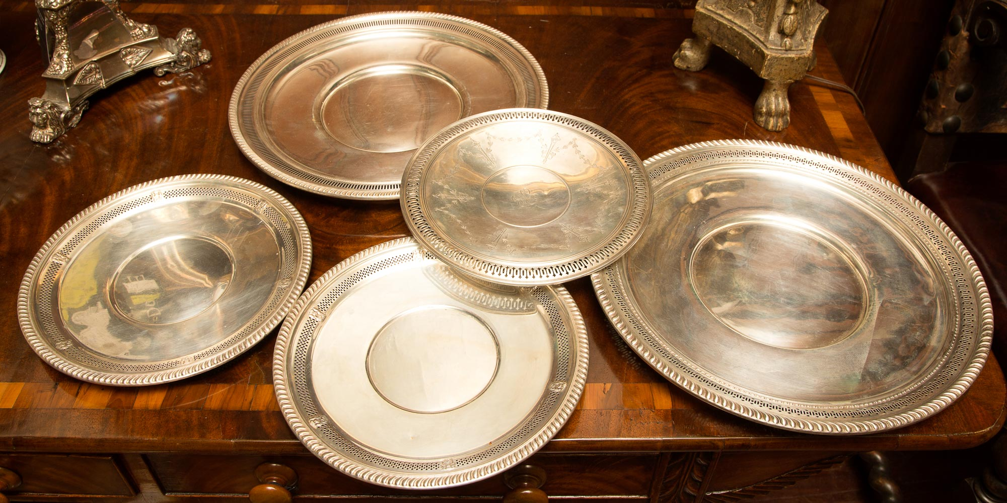 Lot image - Group of Five American Sterling Silver Platters
