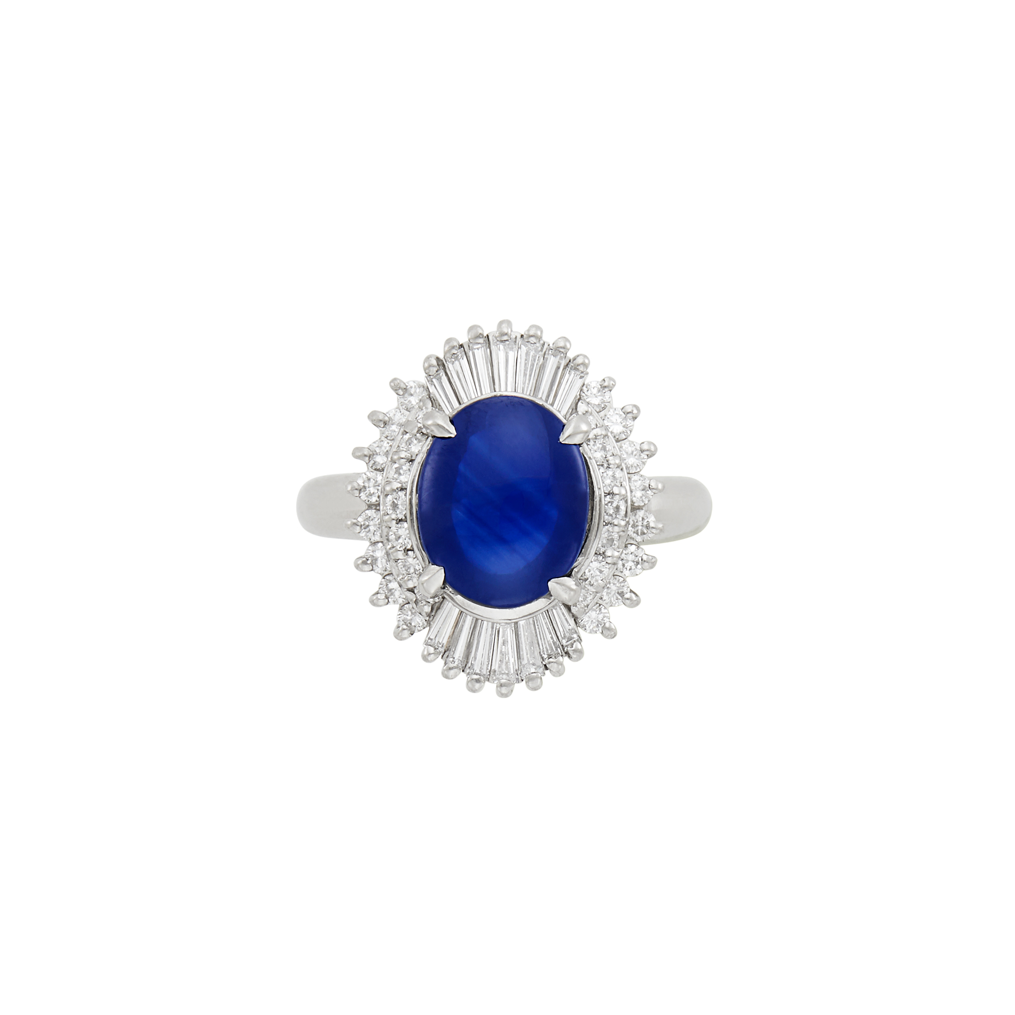 Lot image - Platinum, Cabochon Sapphire and Diamond Ring