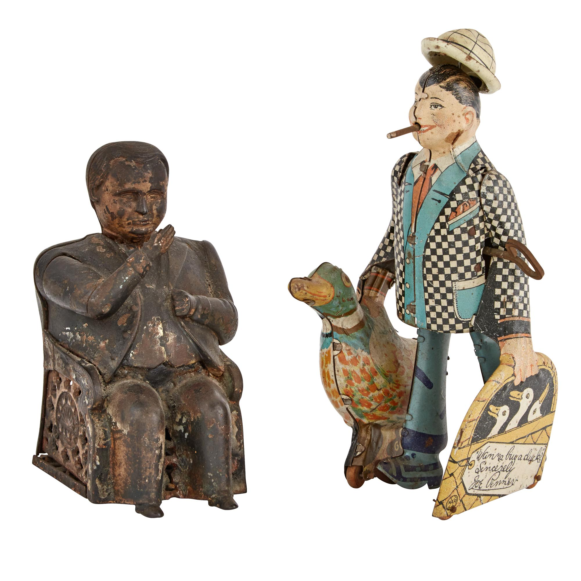 Lot image - American Cast-Iron Mechanical Tammany Hall Bank Boss; Together with a Marx Joe Penner Wanna Buy a Duck Tin Toy