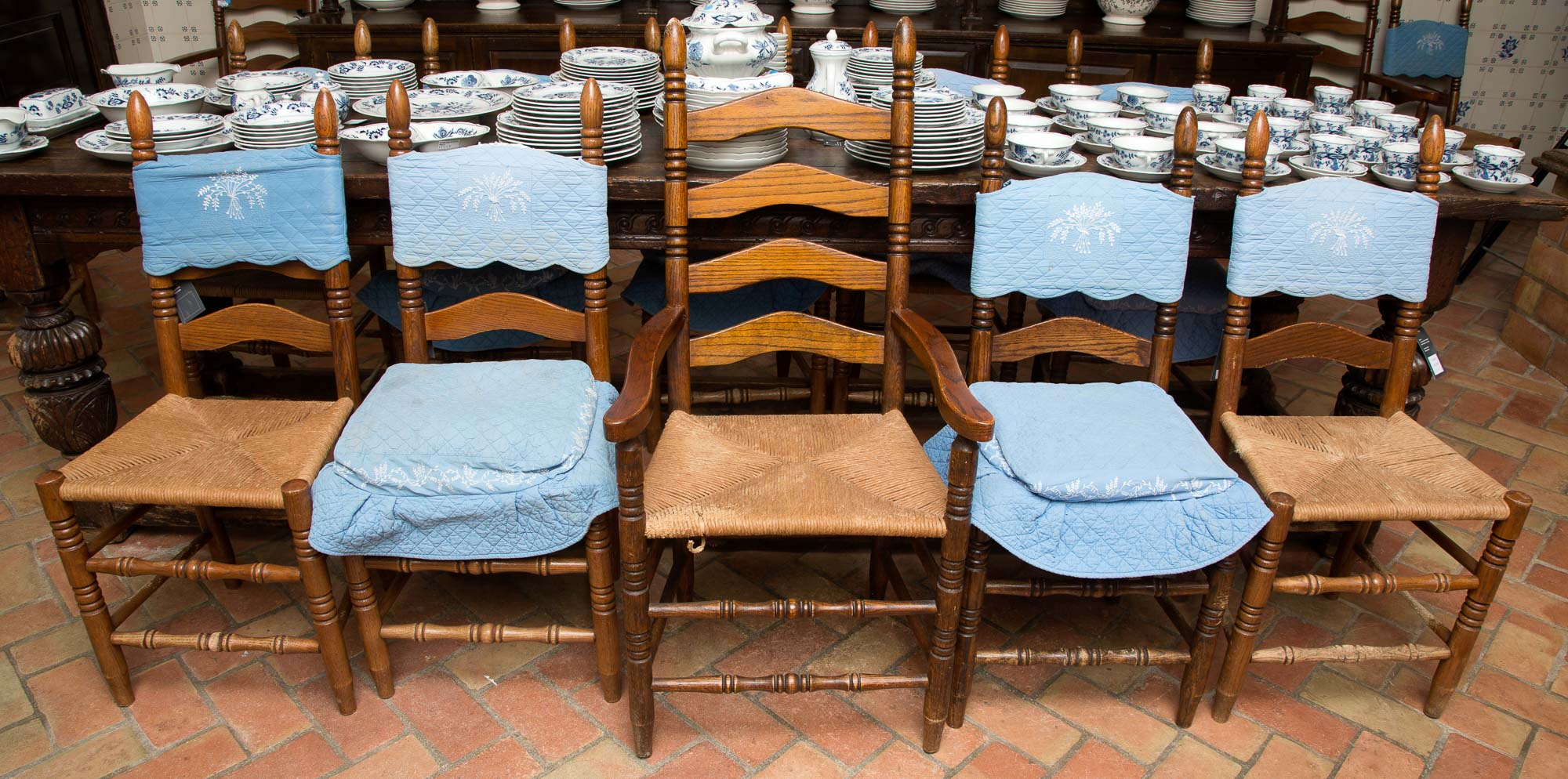 Lot image - Set of Eighteen Rush Seat Chairs