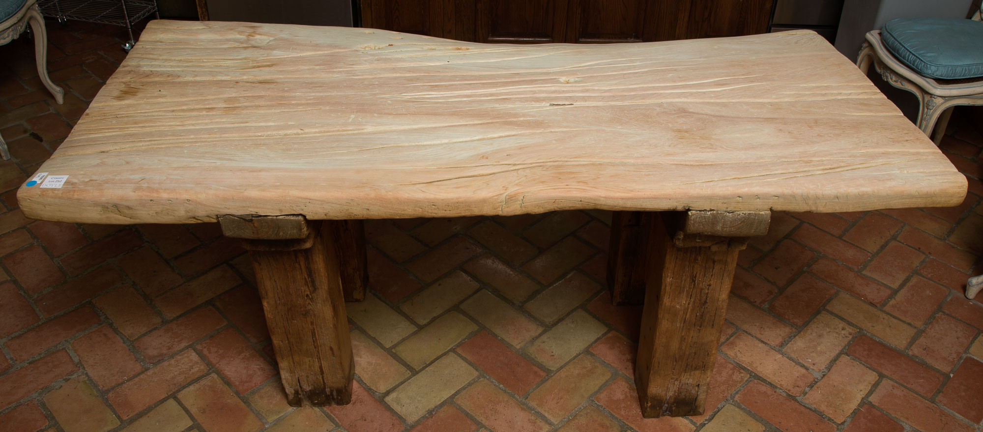 Lot image - Rustic Style Scrubbed Wood Slab Table