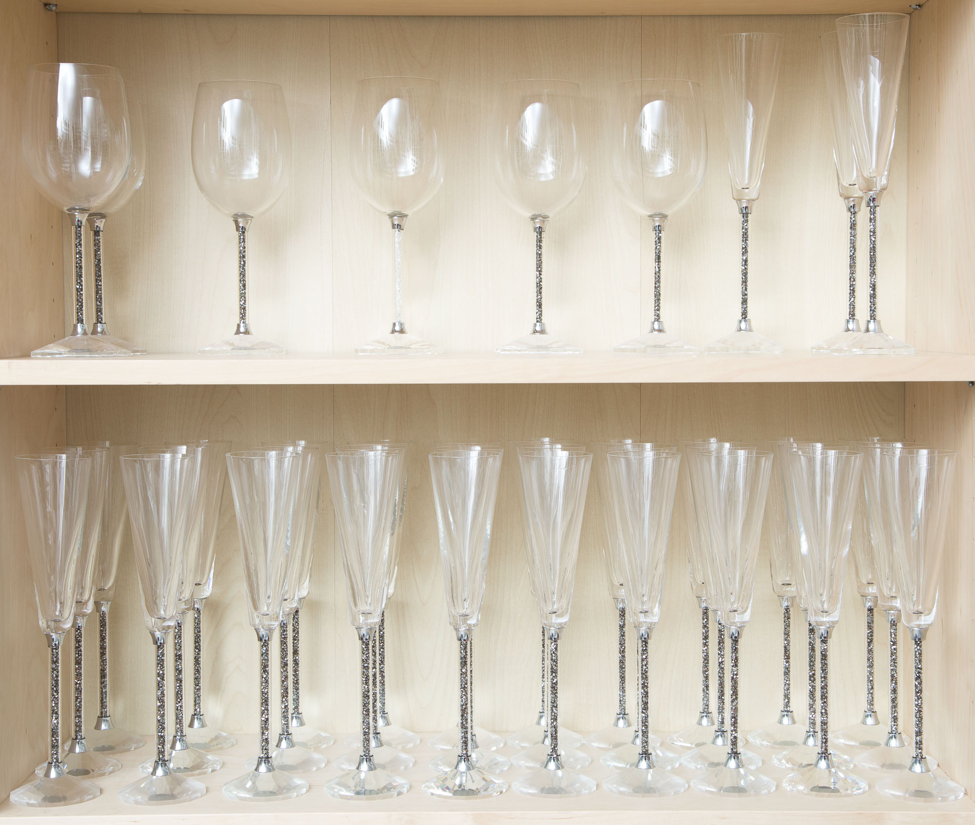 Lot image - Set of Oleg Cassini Glass Champagne Flutes and Wines