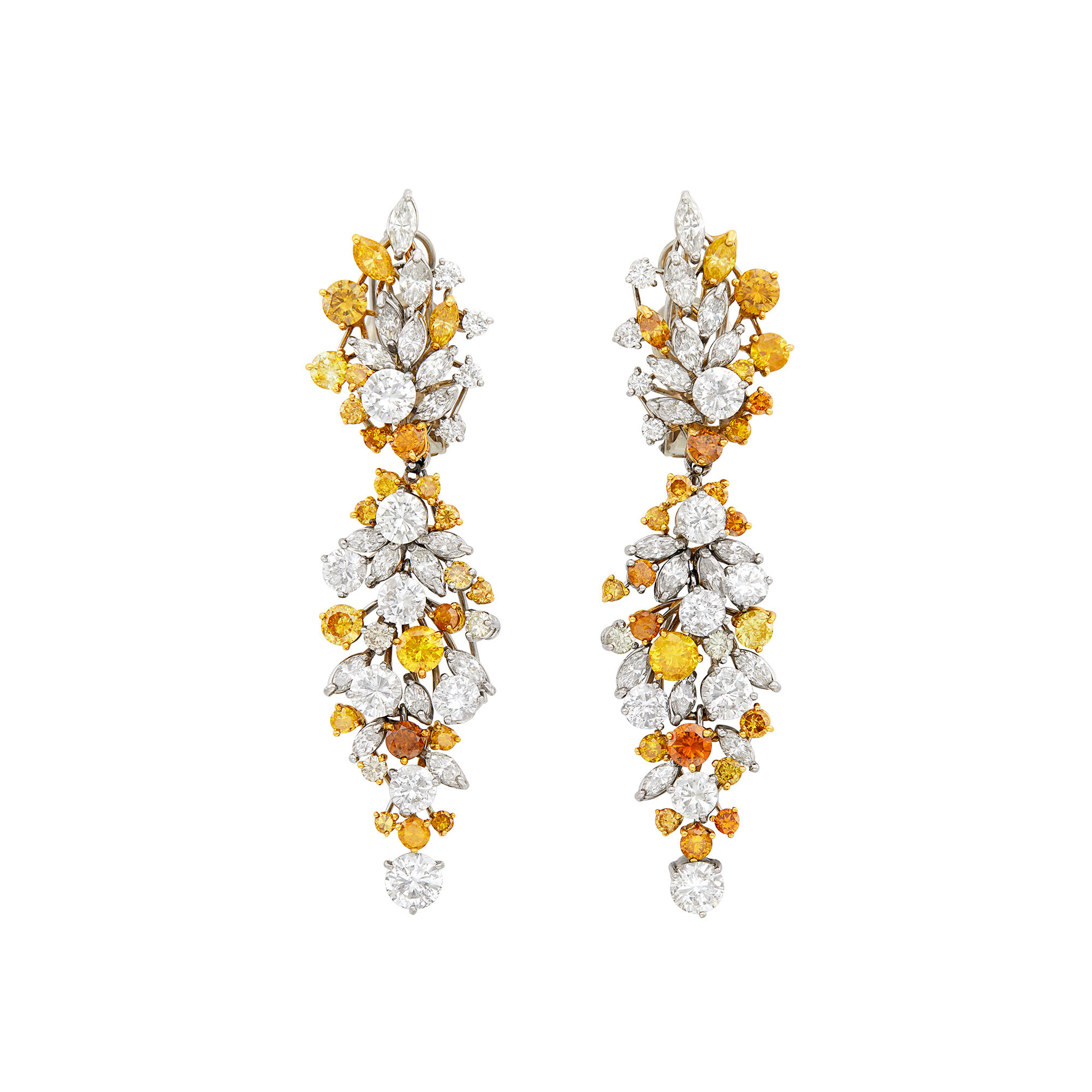 Lot image - Pair of White Gold, Diamond and Colored Diamond Pendant-Earclips with Gold Brooch Jackets/Stud Earring Combination