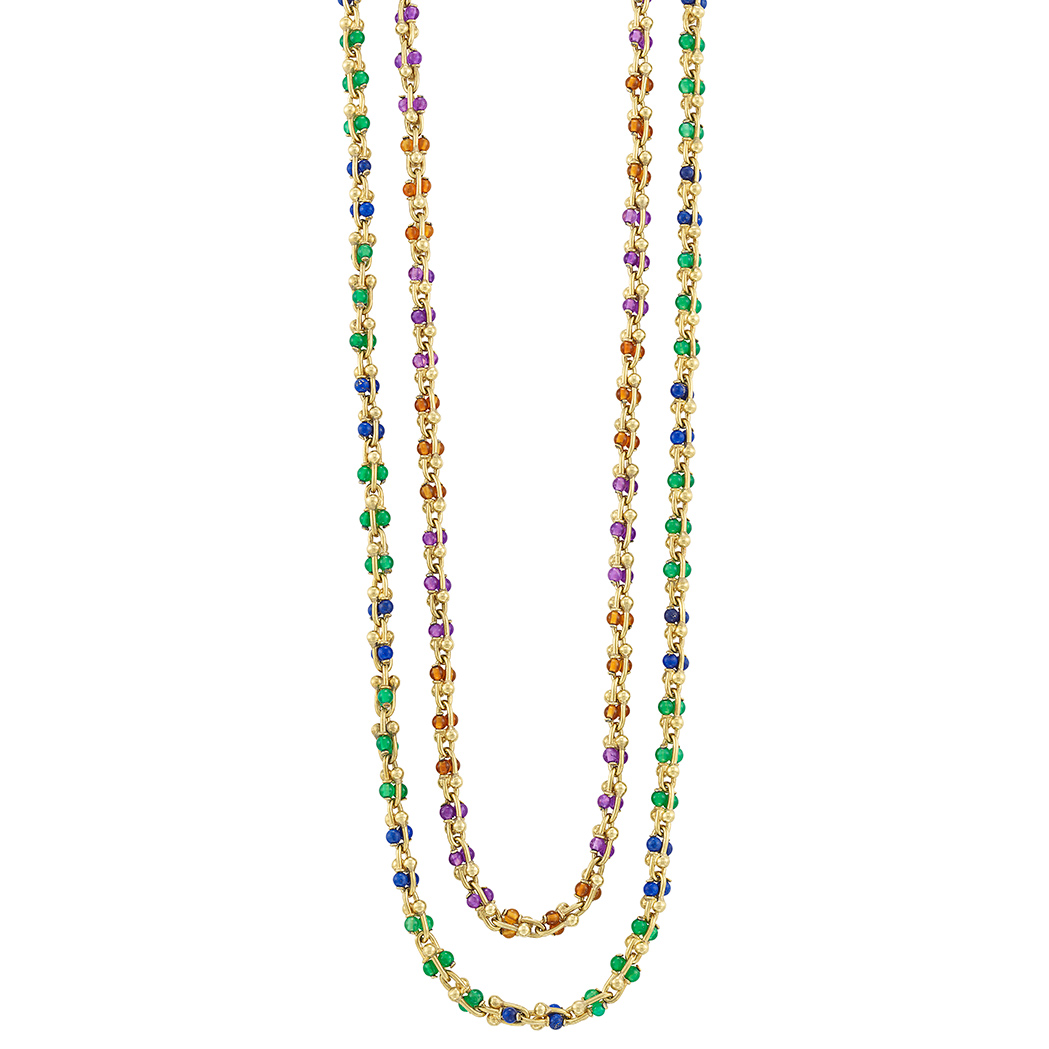 Lot image - Pair of Gold, Citrine, Amethyst, Lapis and Green Onyx Bead Chain Necklaces