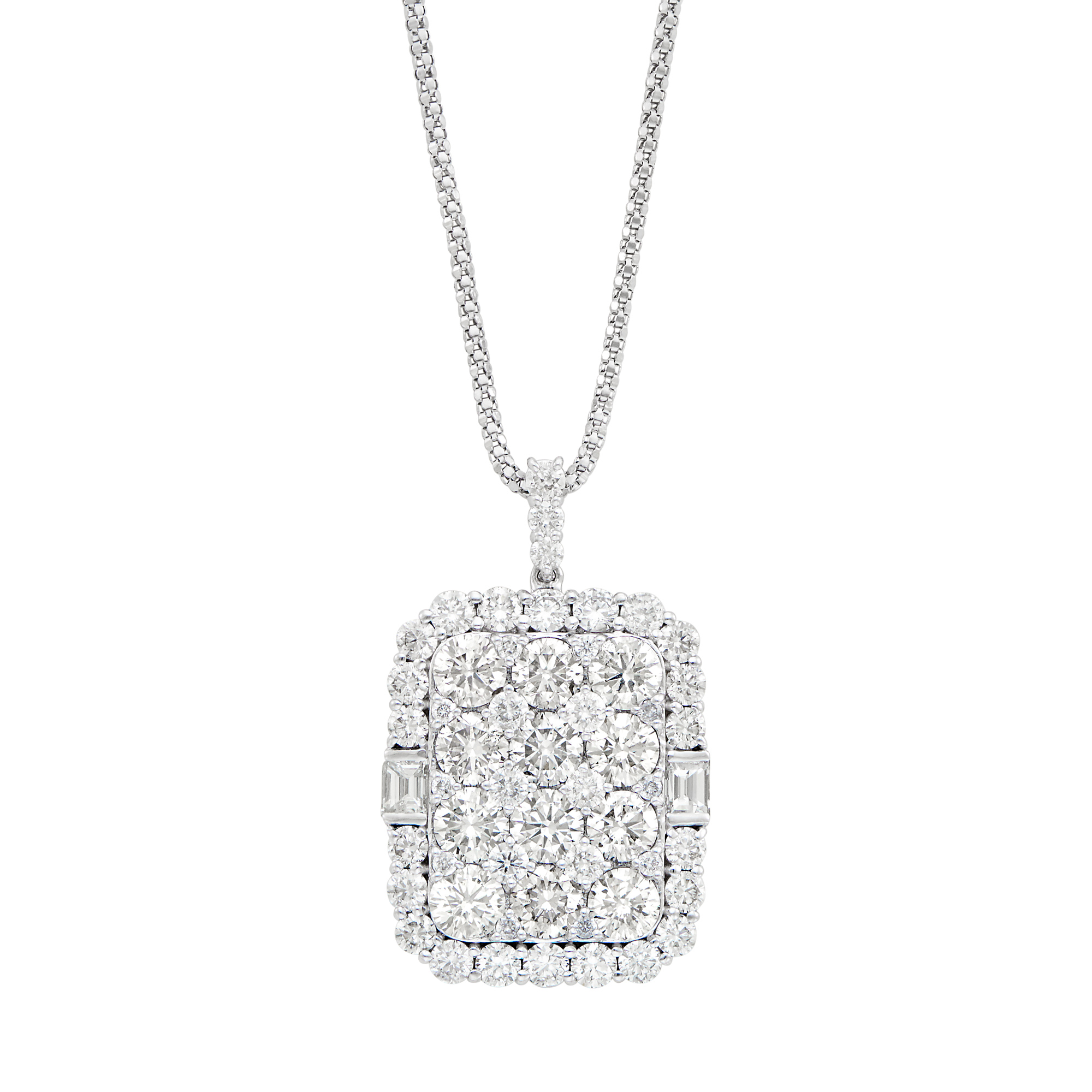 Lot image - White Gold and Diamond Pendant with Chain Necklace