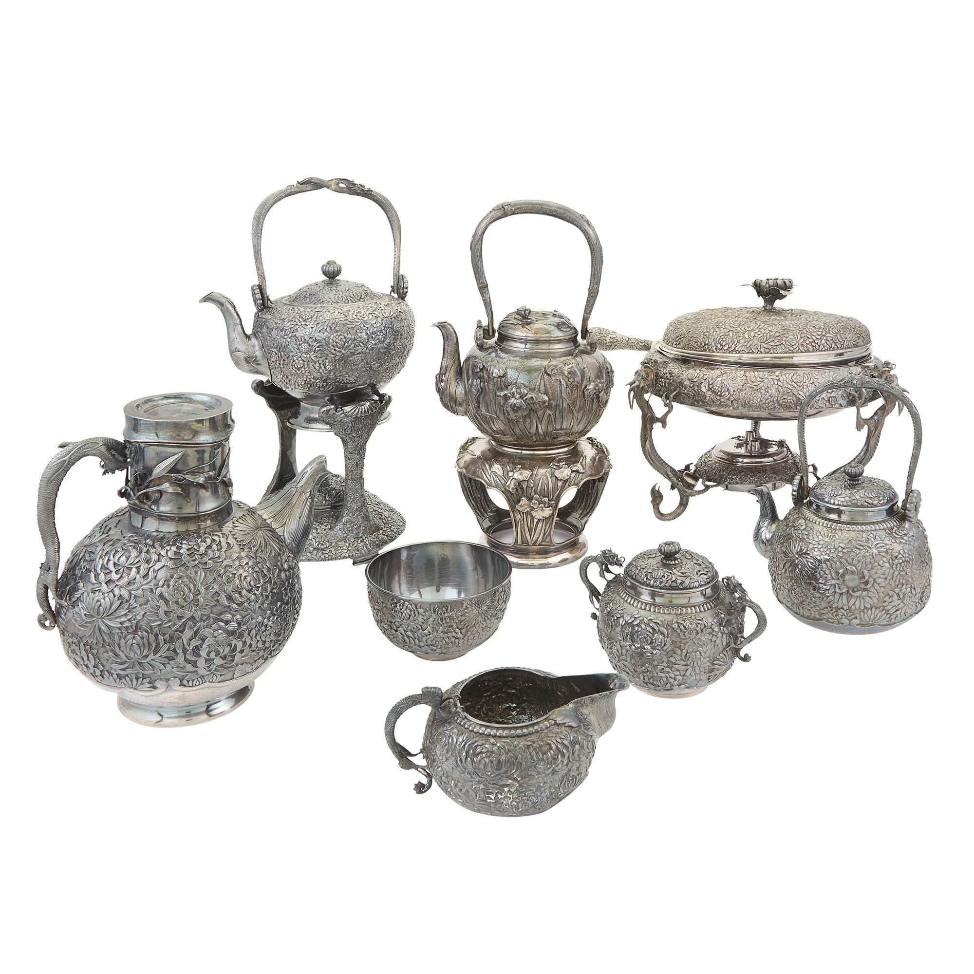 Lot image - Group of Japanese Export Silver Table Articles