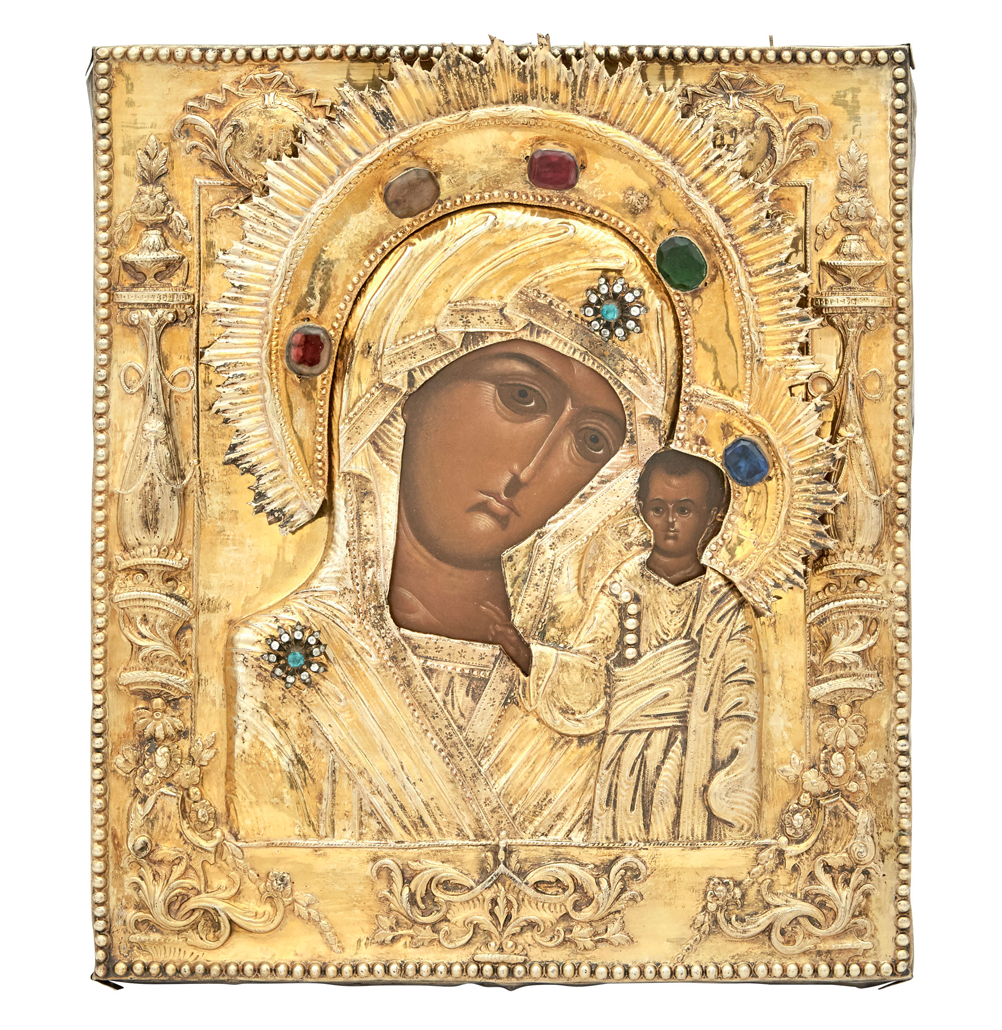 Lot image - Russian Silver-Gilt Icon of the Mother of God of Kazan