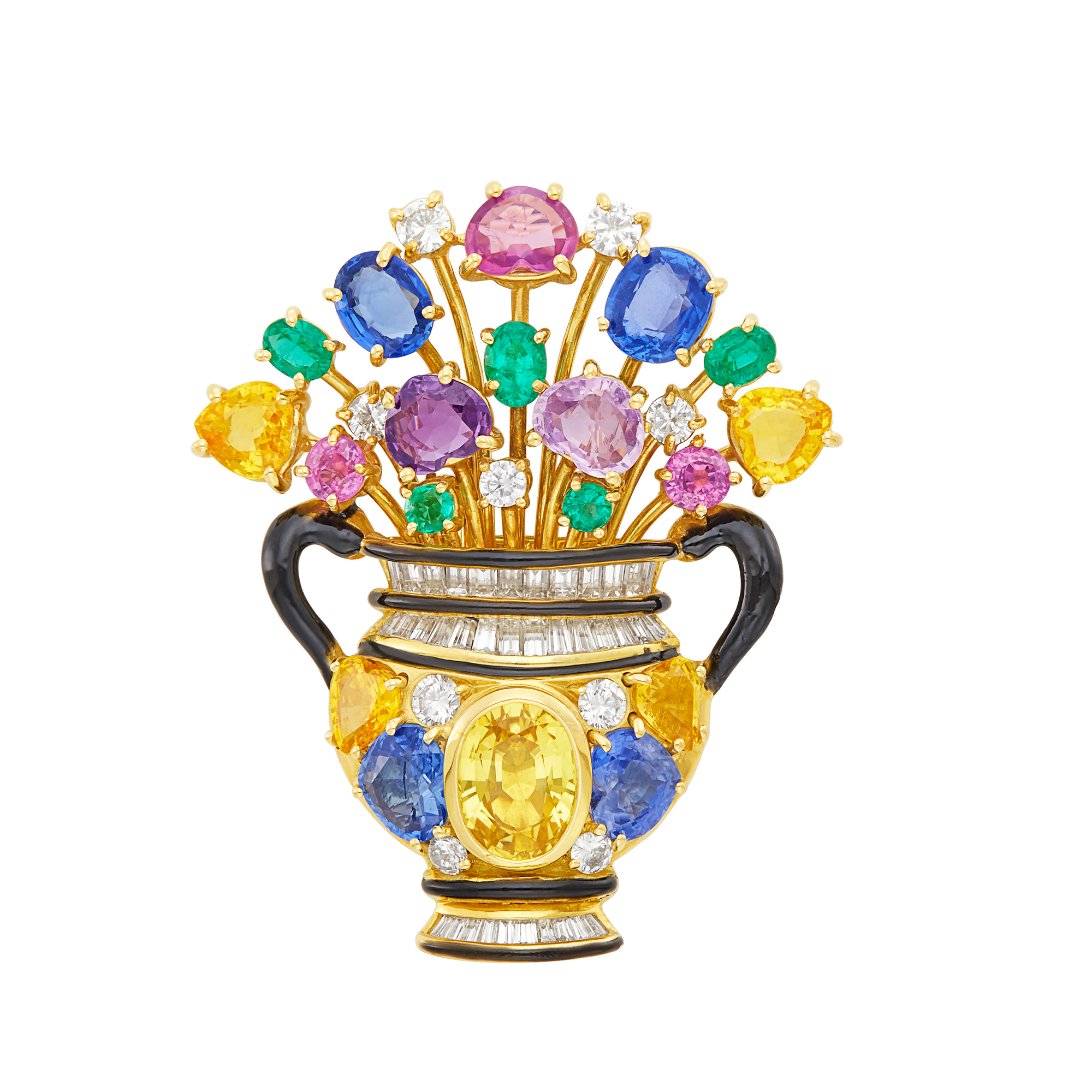 Lot image - Gold, Multicolored Sapphire, Diamond and Black Enamel Flower Urn Clip-Brooch