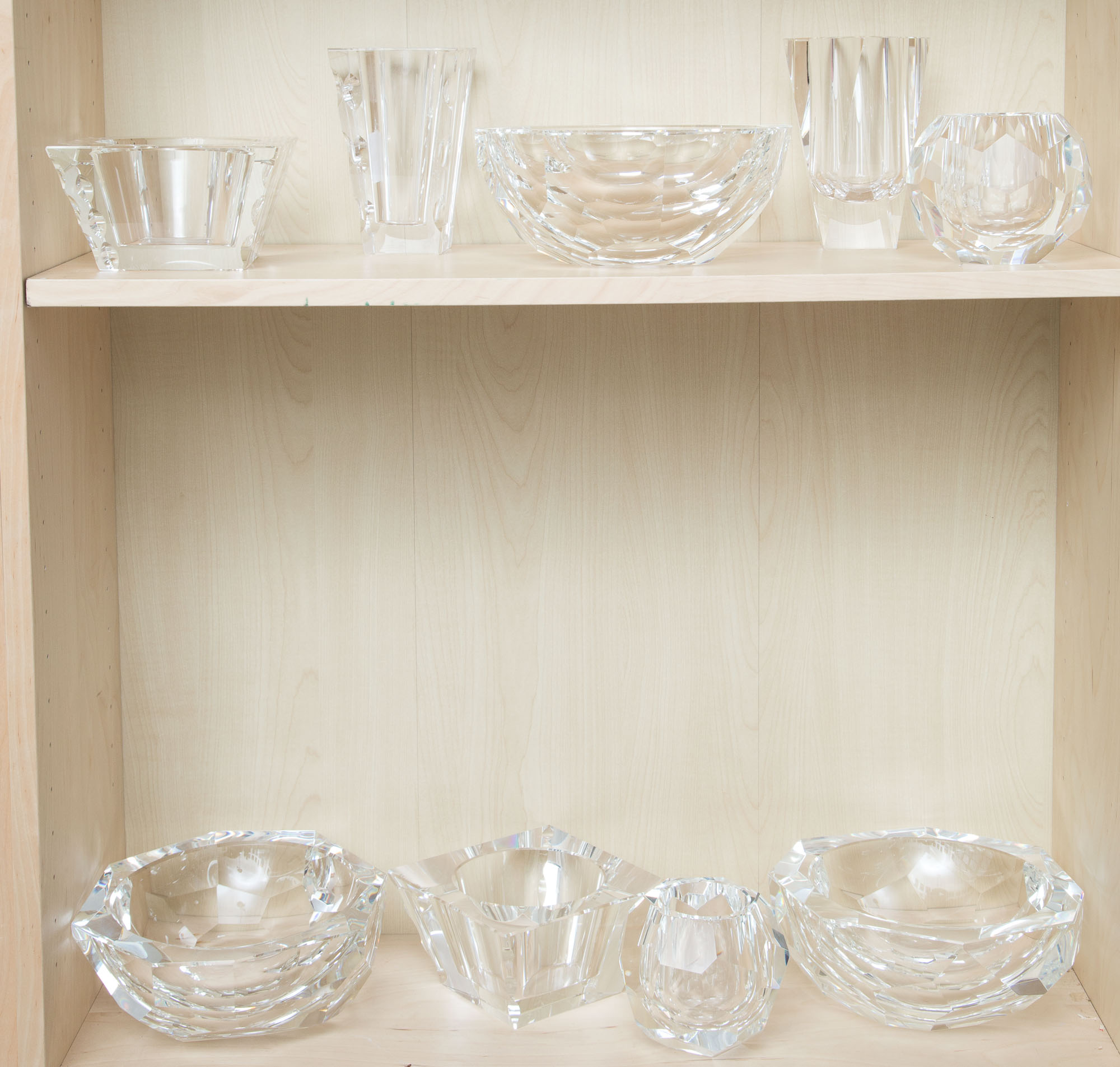 Lot image - Group of Nine Oleg Cassini Glass Bowls and Vases