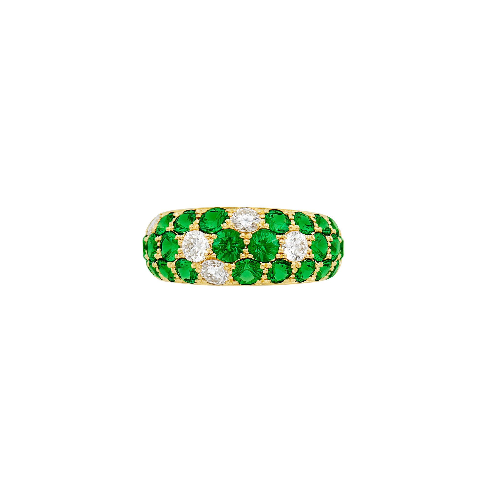 Lot image - Gold, Green Garnet and Diamond Ring