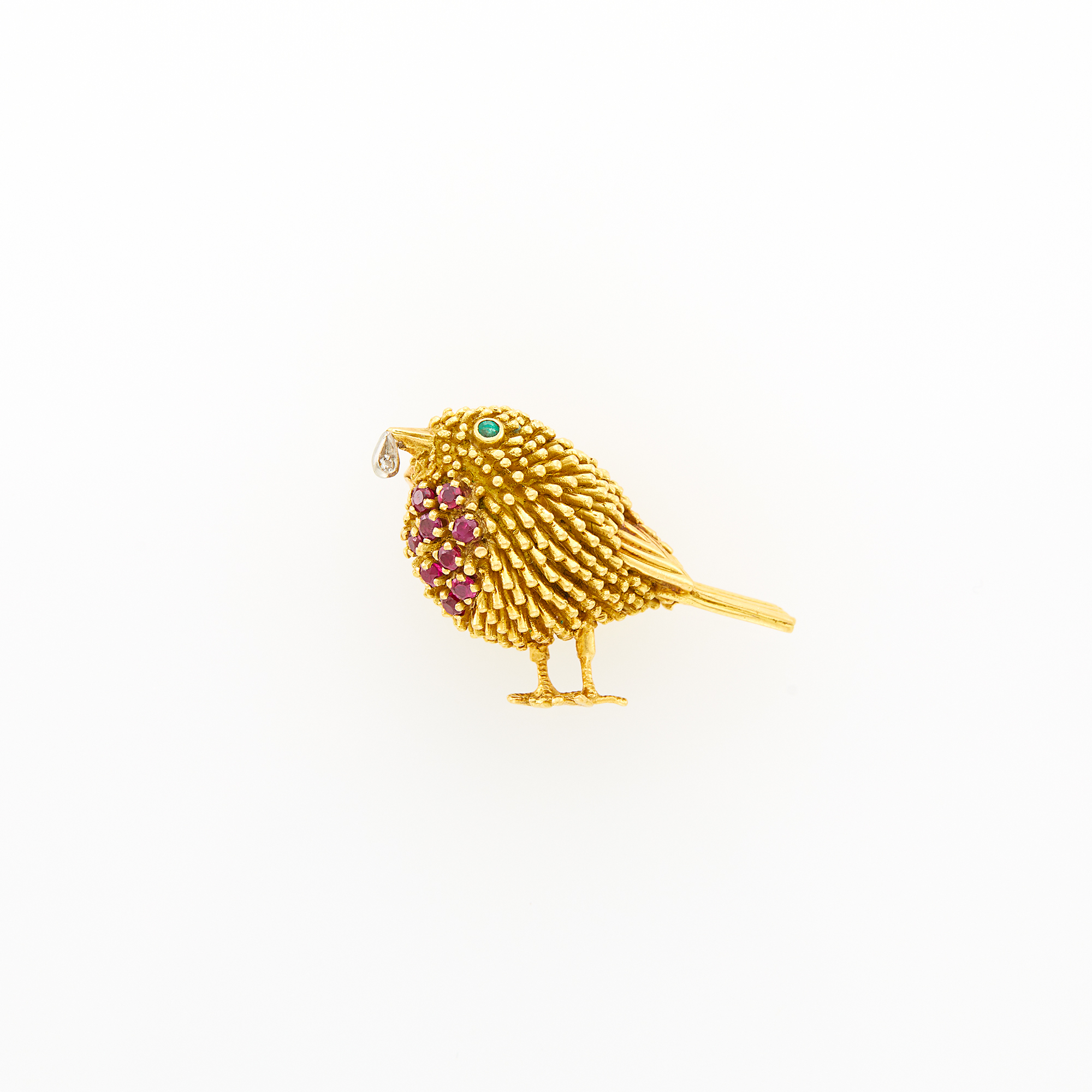 Lot image - Tiffany & Co. Gold, Ruby, Emerald and Diamond Bird Clip-Brooch, France