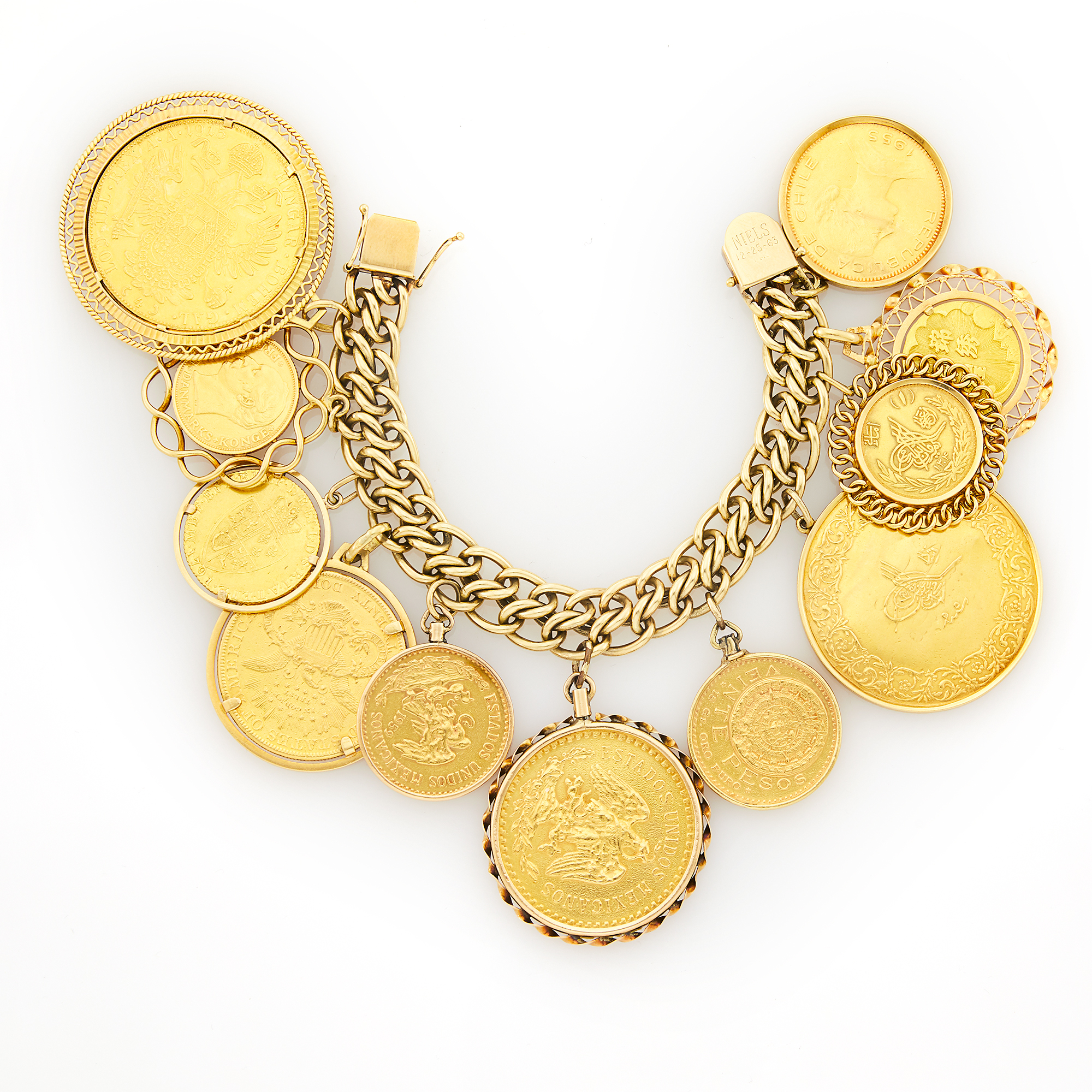 Lot image - Gold Coin Charm Bracelet
