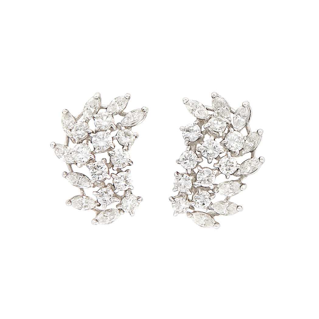 Lot image - Pair of Platinum and Diamond Cluster Earrings