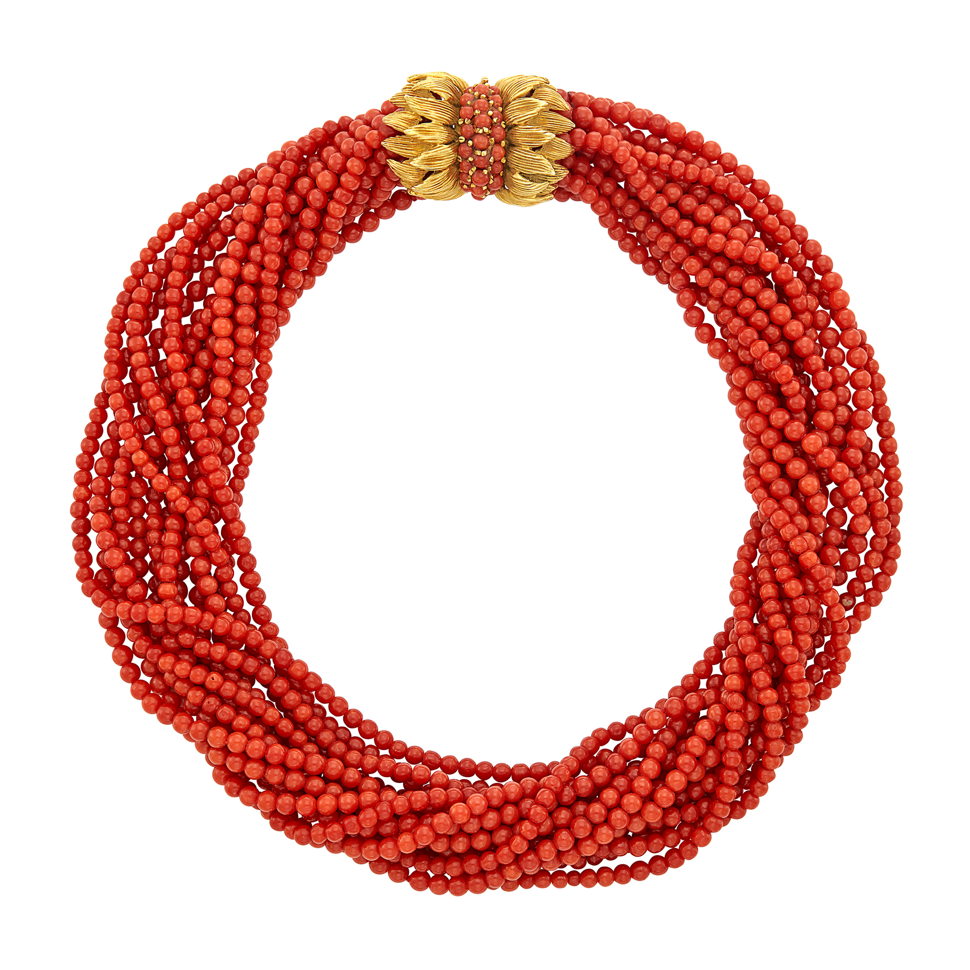 Lot image - Fourteen Strand Coral Bead Torsade Necklace with Gold and Coral Clasp