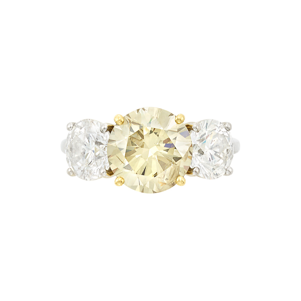 Lot image - Platinum, Gold, Fancy Brown-Greenish Yellow Diamond and Diamond Ring