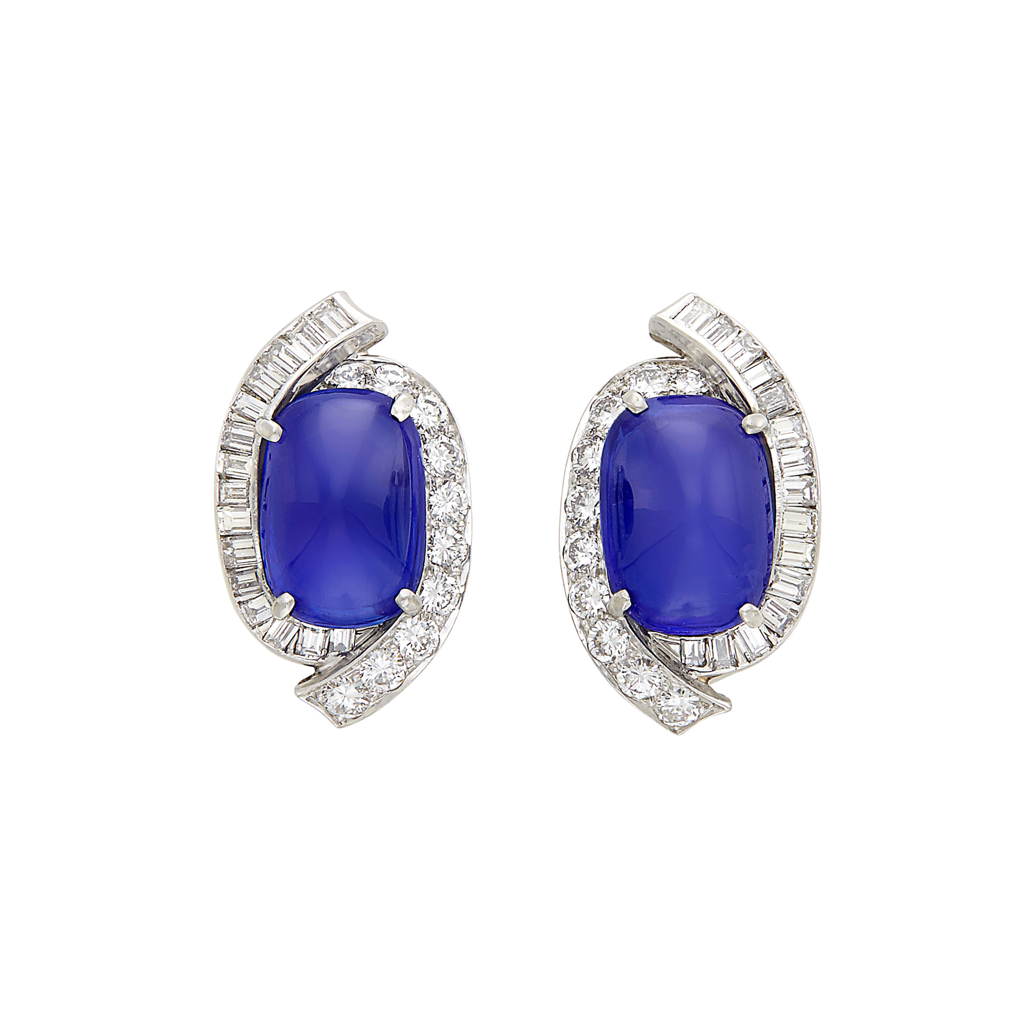 Lot image - Pair of Platinum, Cabochon Kashmir Sapphire and Diamond Earclips