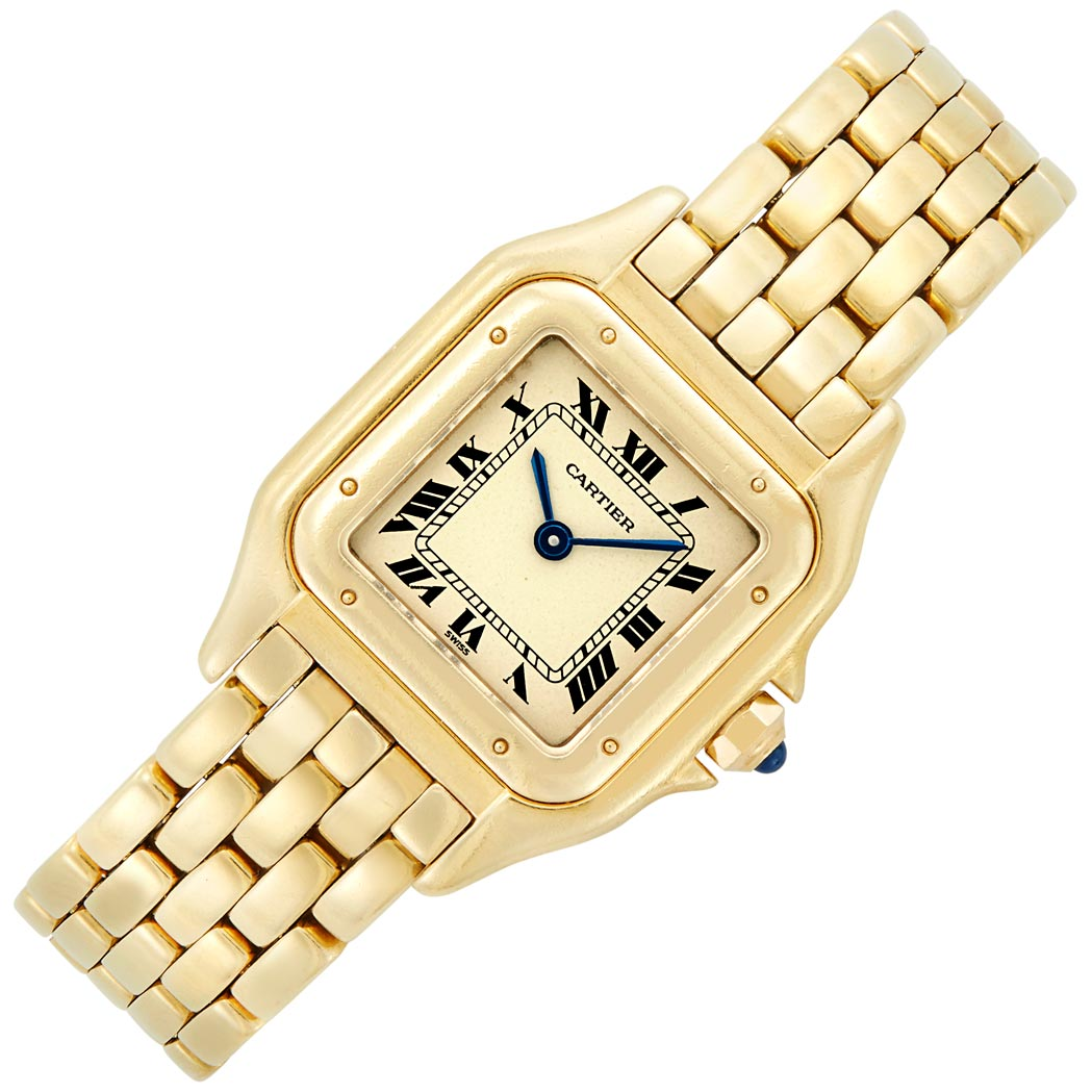 Lot image - Lady's Gold 'Panthere' Wristwatch, Cartier