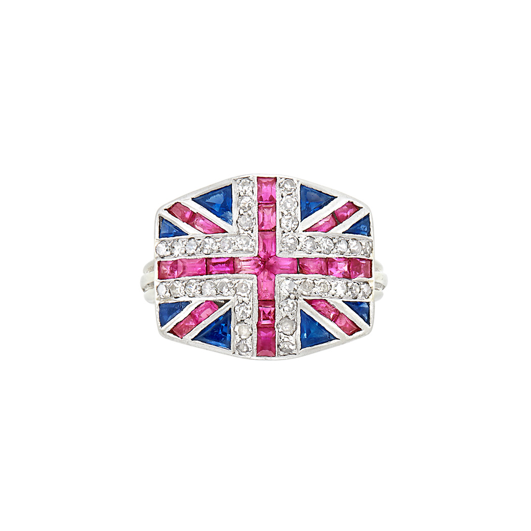 Lot image - Platinum, Gold, Diamond, Ruby and Sapphire British Flag Ring