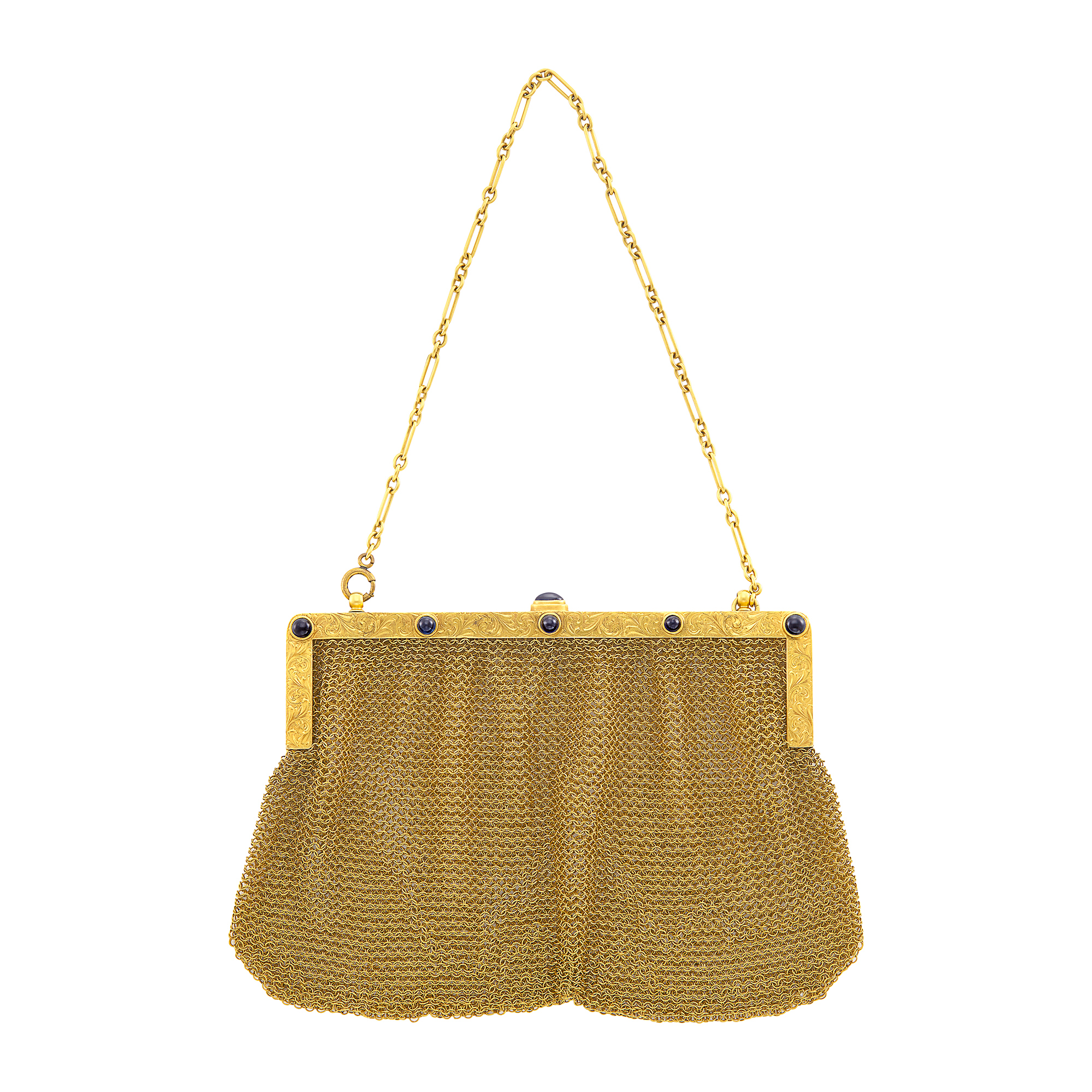 Lot image - Gold and Cabochon Sapphire Mesh Purse