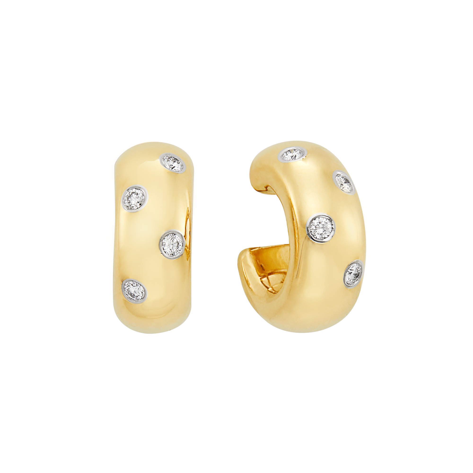 Lot image - Pair of Gold, Platinum and Diamond Hoop Earrings, Tiffany & Co.