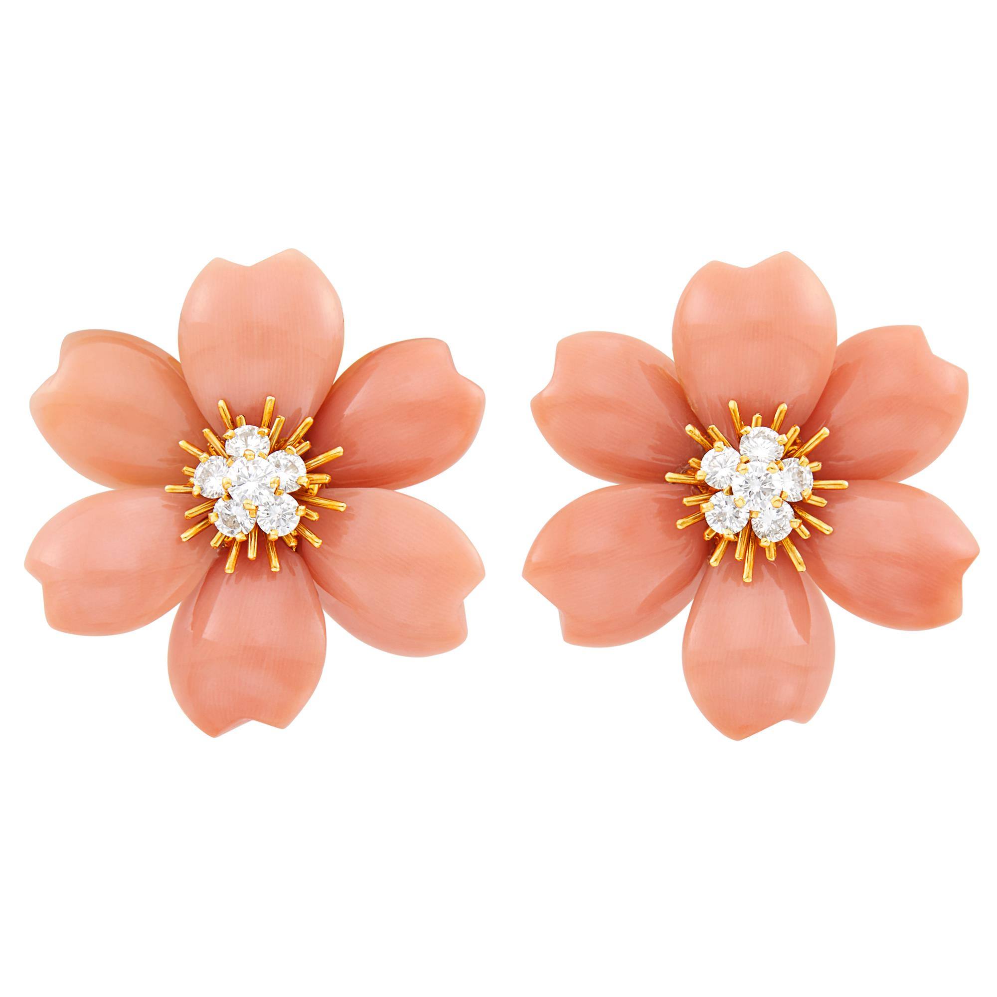 Lot image - Van Cleef & Arpels Pair of Gold, Carved Coral and Diamond Rose de Noel Flower Earclips, France